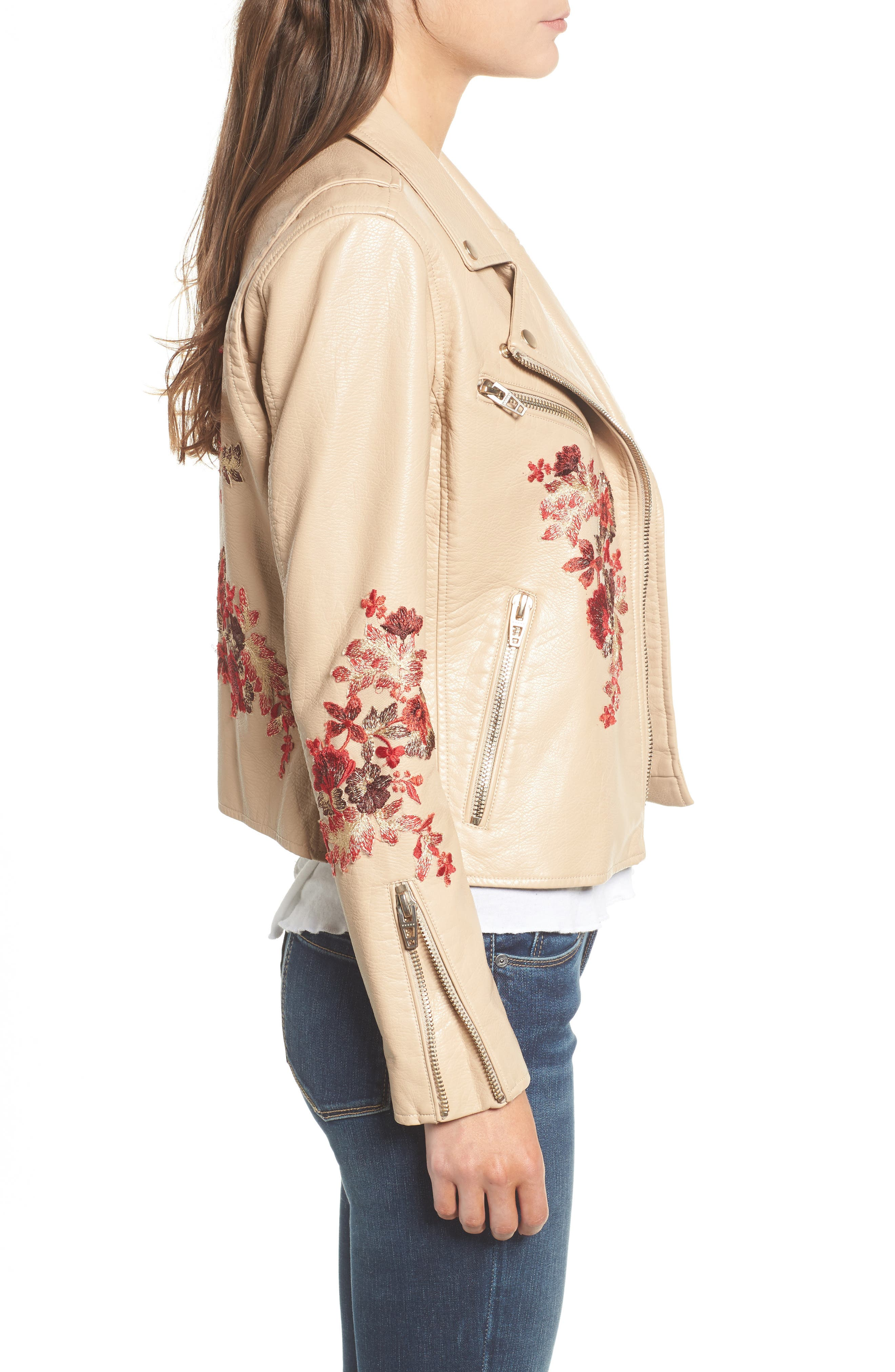 Embroidered Moto Jacket,                             Alternate thumbnail 3, color,                             Wildflower