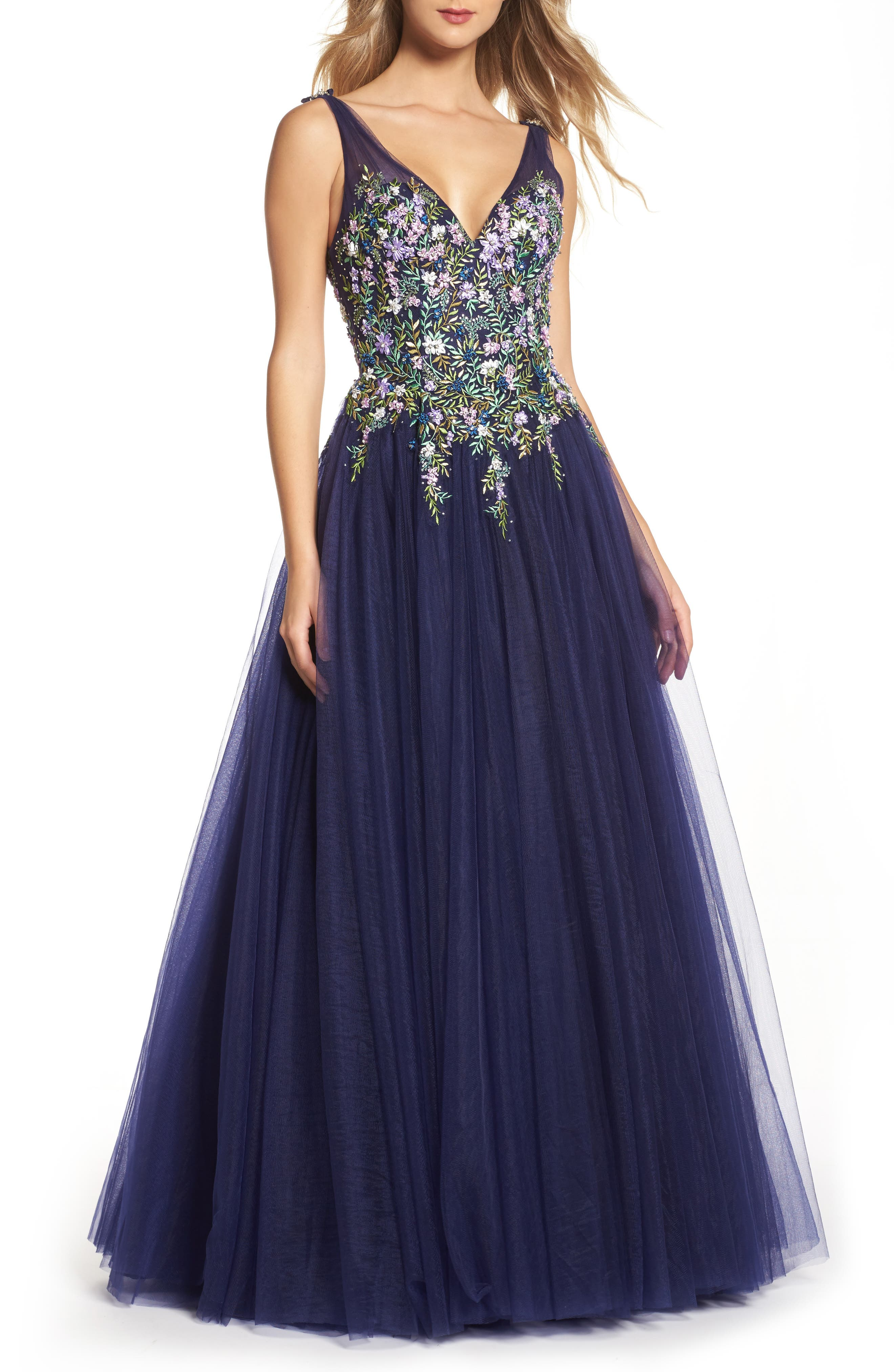 Embroidered Bodice Ballgown,                             Main thumbnail 1, color,                             Indigo