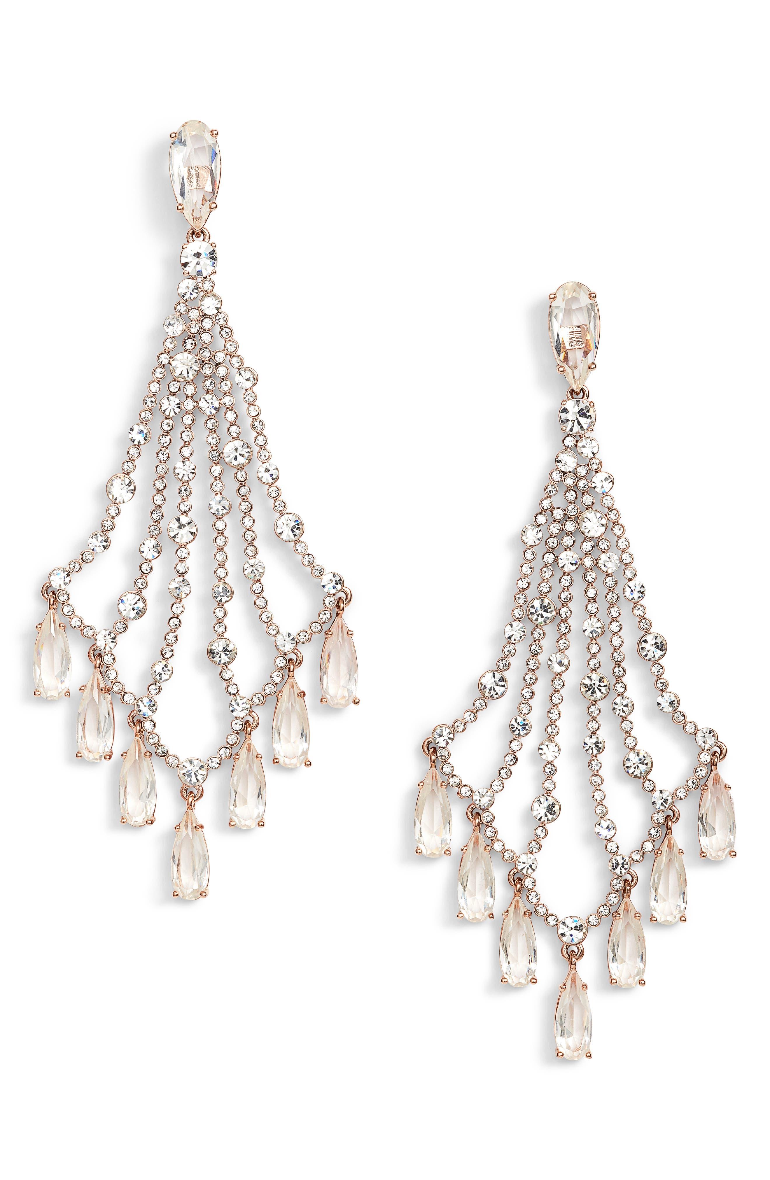 cascade drop earrings,                             Main thumbnail 1, color,                             Rose Gold