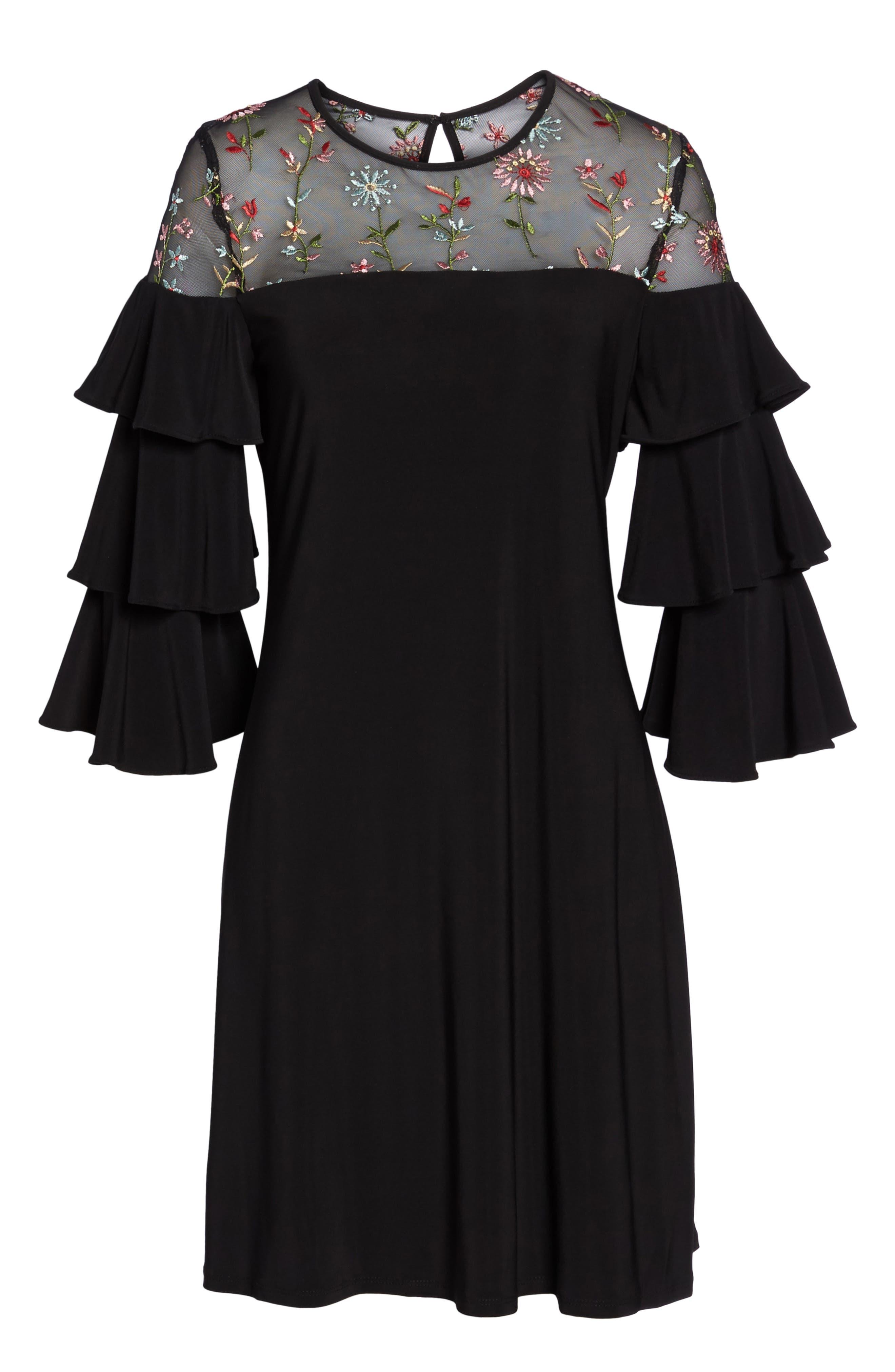 Tiered Sleeve Trapeze Dress,                             Alternate thumbnail 6, color,                             Black Multi