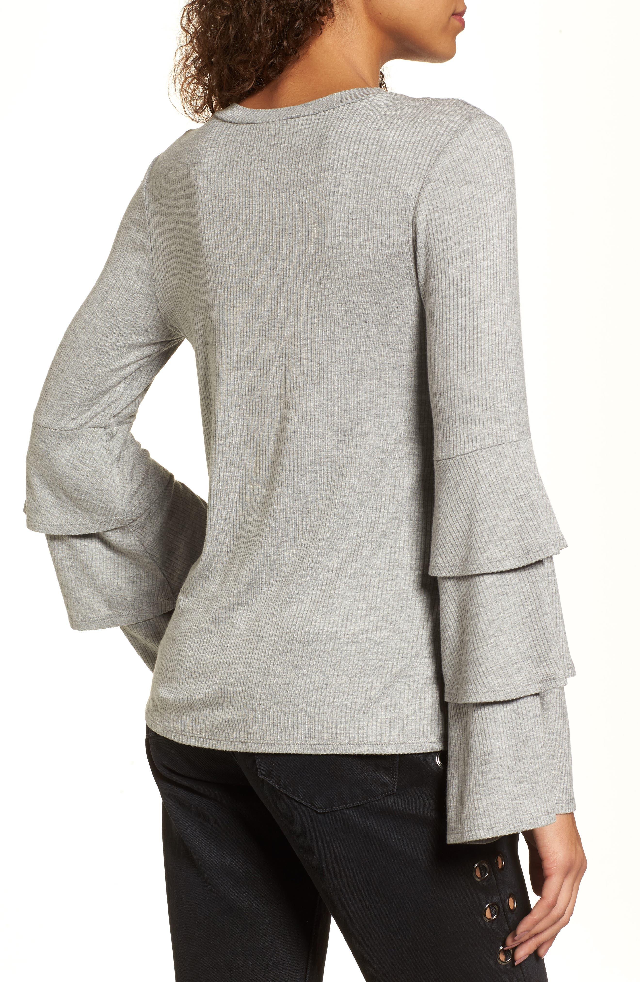 Ruffle Sleeve Ribbed Sweater,                             Alternate thumbnail 2, color,                             Grey Medium Heather