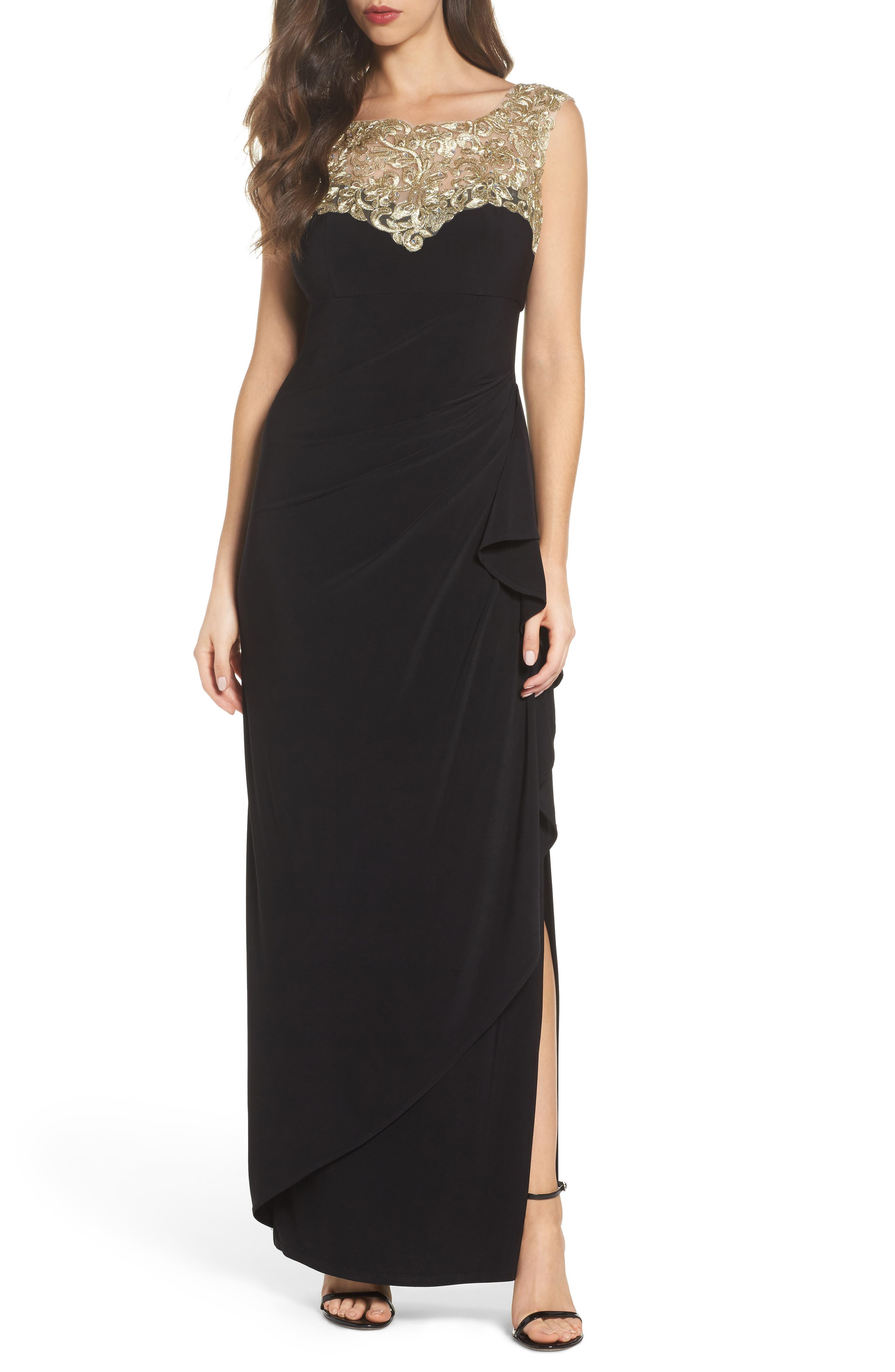 Embroidered Side Ruched Gown,                         Main,                         color, Black/ Gold