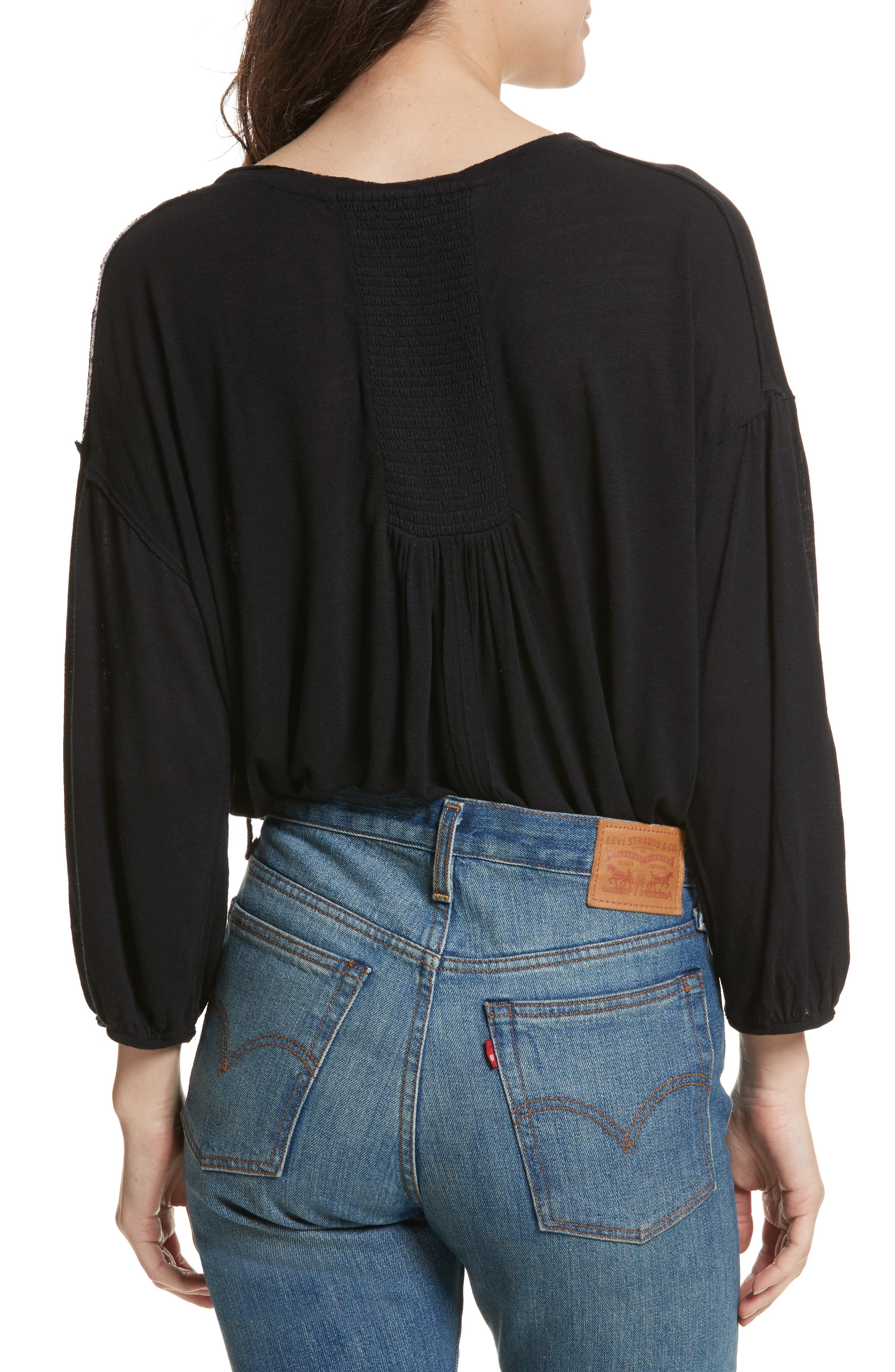 Just a Henley Top,                             Alternate thumbnail 2, color,                             Black