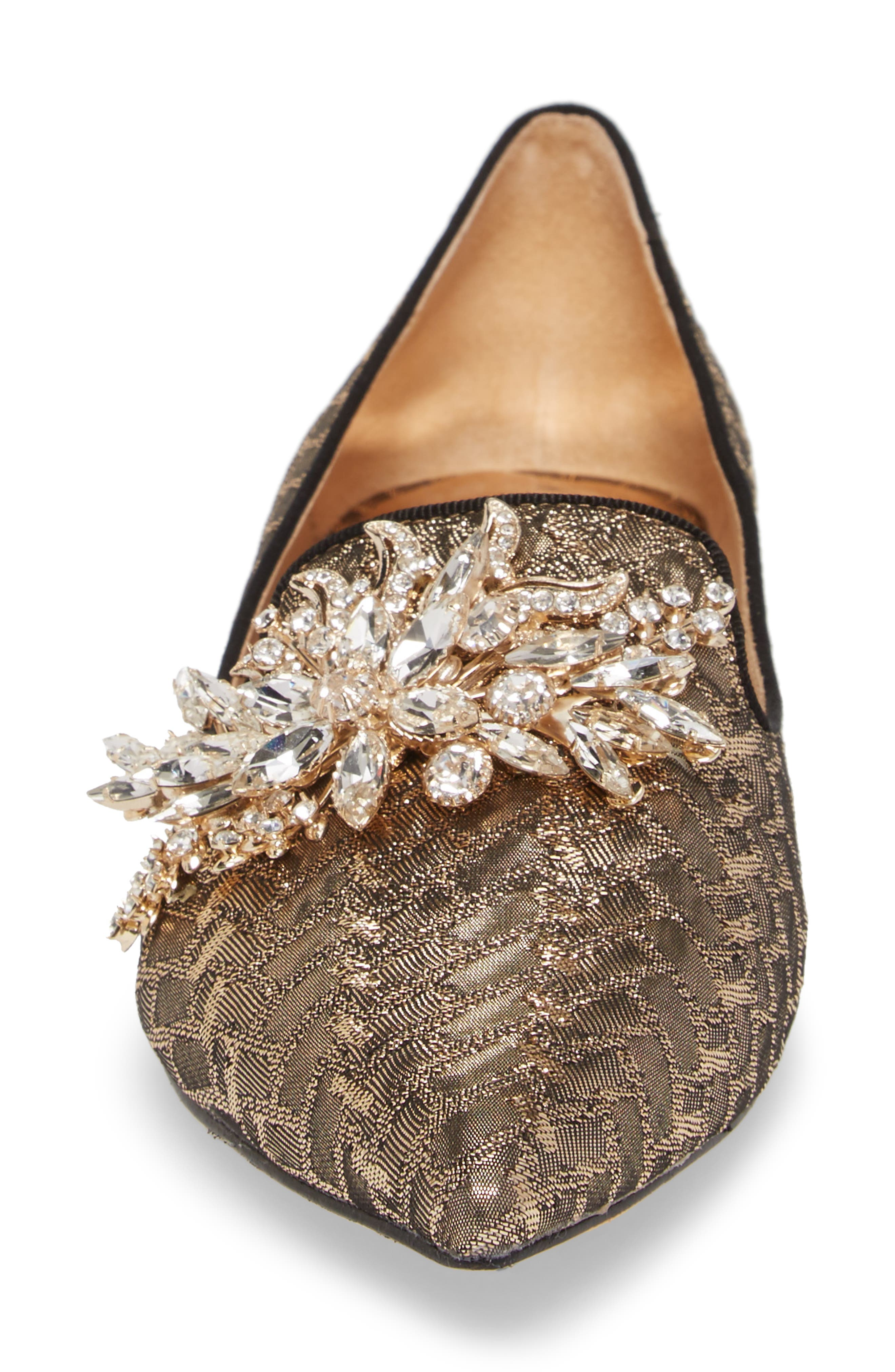 Mandy Embellished Loafer Flat,                             Alternate thumbnail 4, color,                             Antique Gold