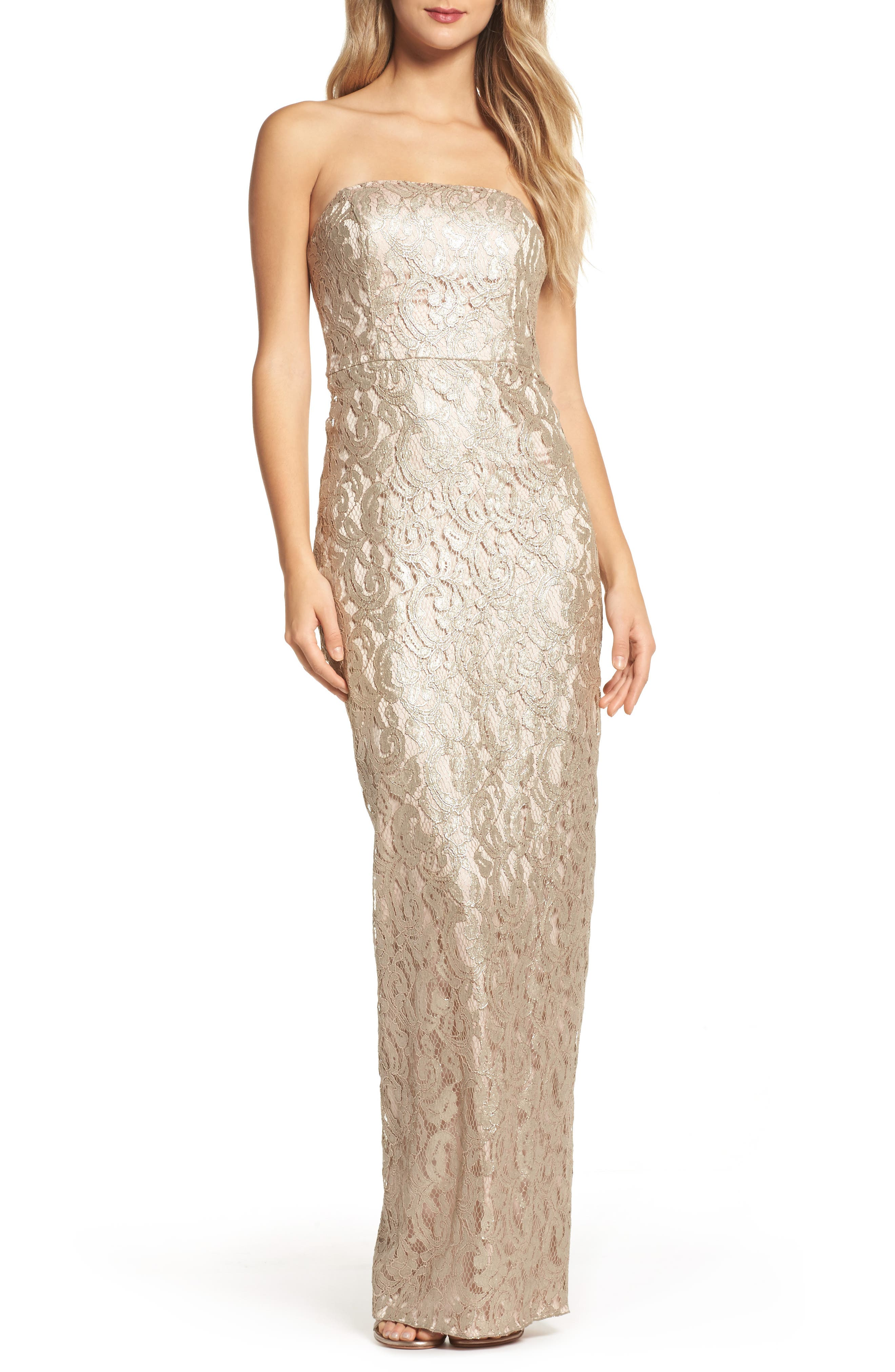 Starla Ruffle Back Strapless Lace Gown,                             Main thumbnail 1, color,                             Gold