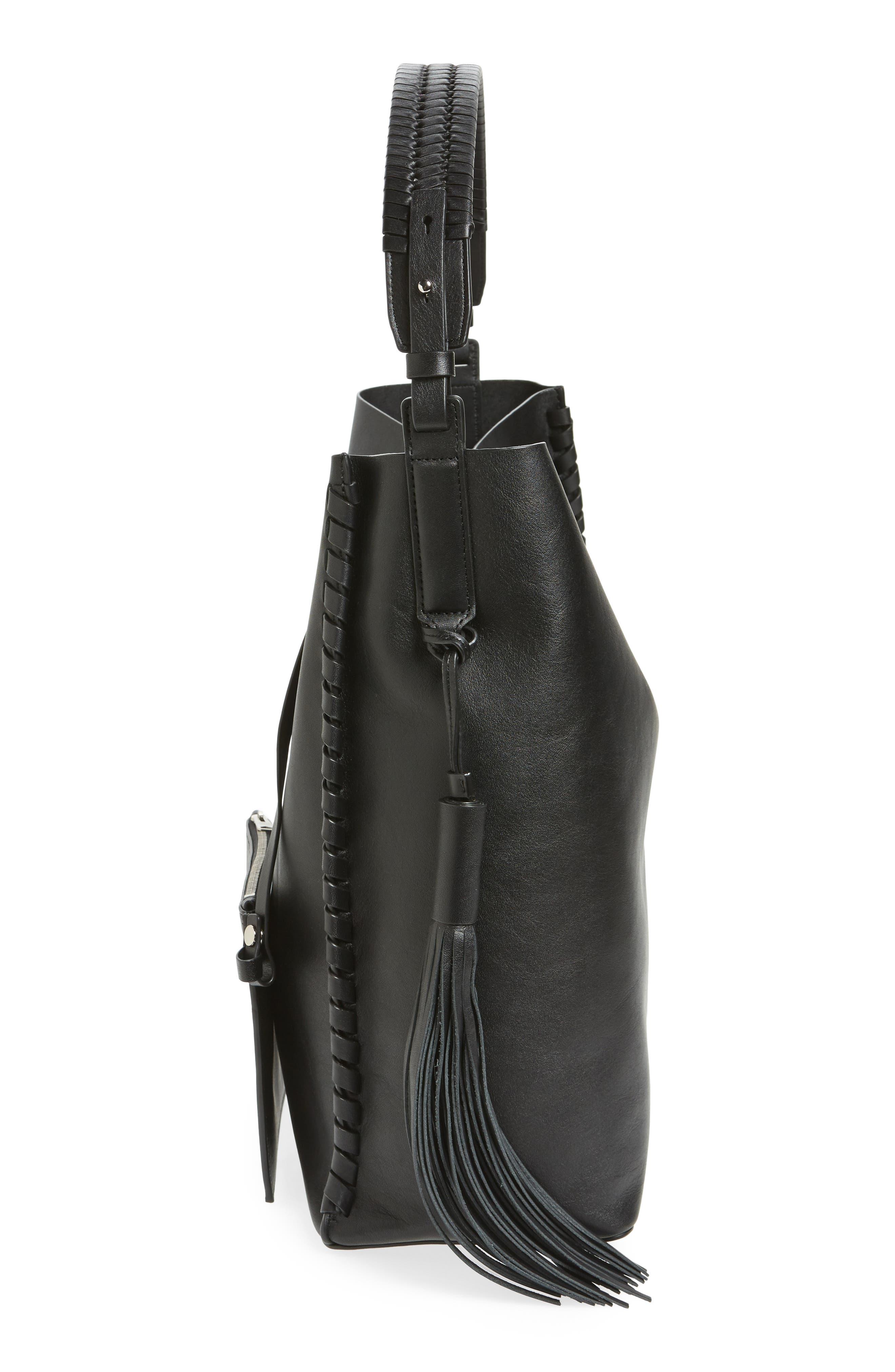 Kepi North/South Leather Tote,                             Alternate thumbnail 5, color,                             Black