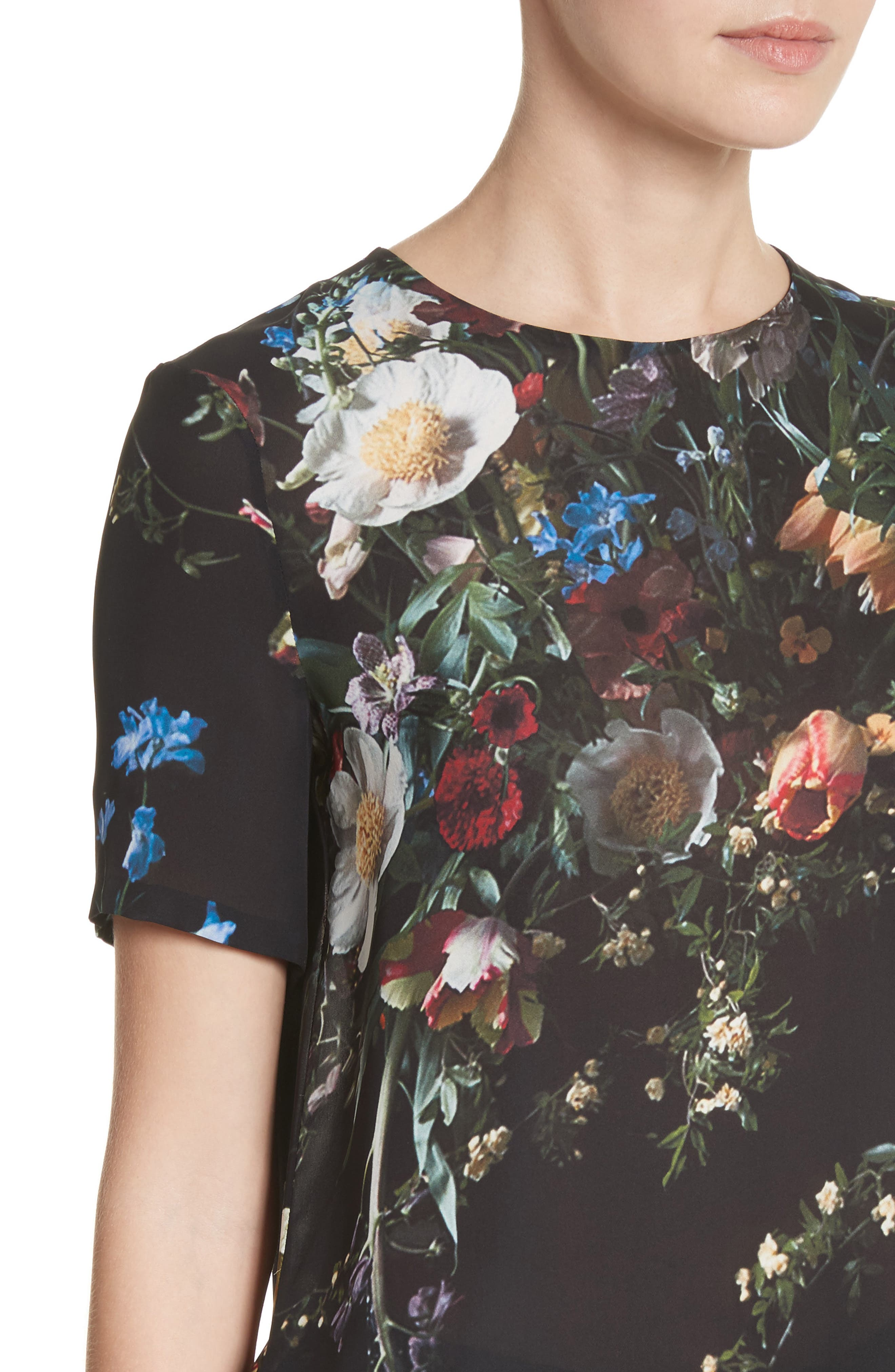 Floral Print Silk Tee,                             Alternate thumbnail 4, color,                             Black