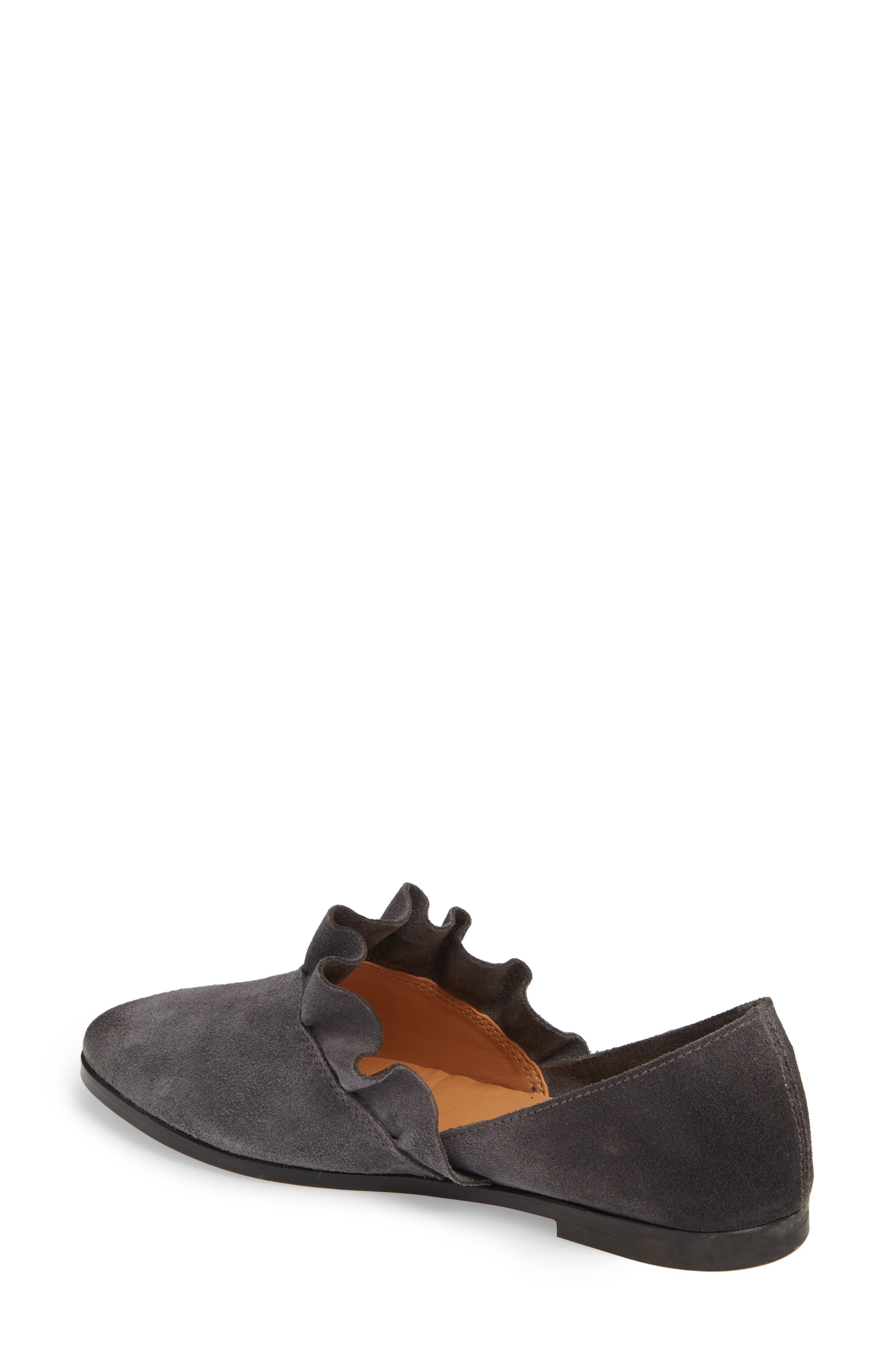 Gabbie Ruffle d'Orsay Flat,                             Alternate thumbnail 2, color,                             Ink Suede