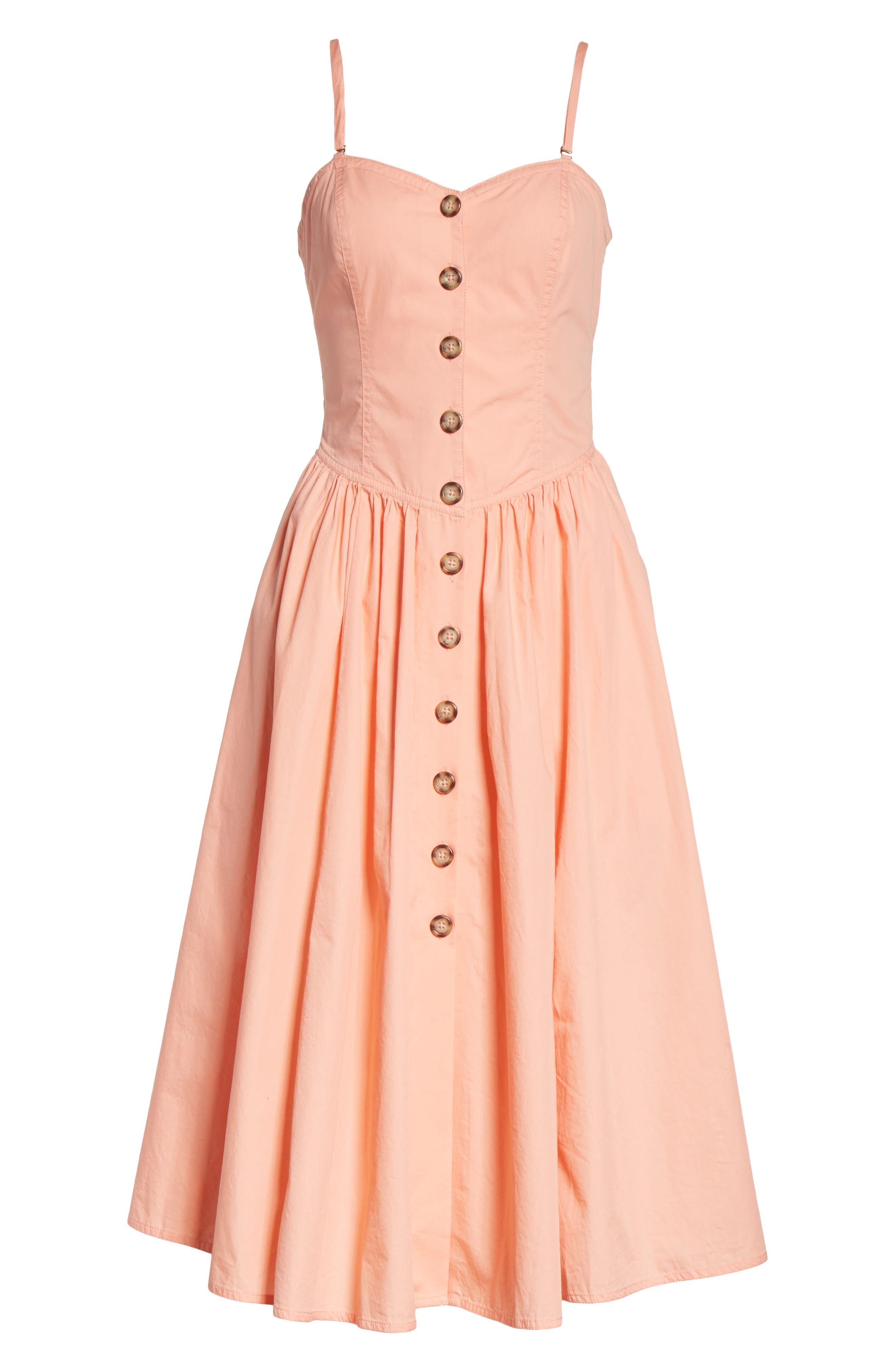 Perfect Peach Poplin Midi Dress,                             Alternate thumbnail 7, color,                             Pink