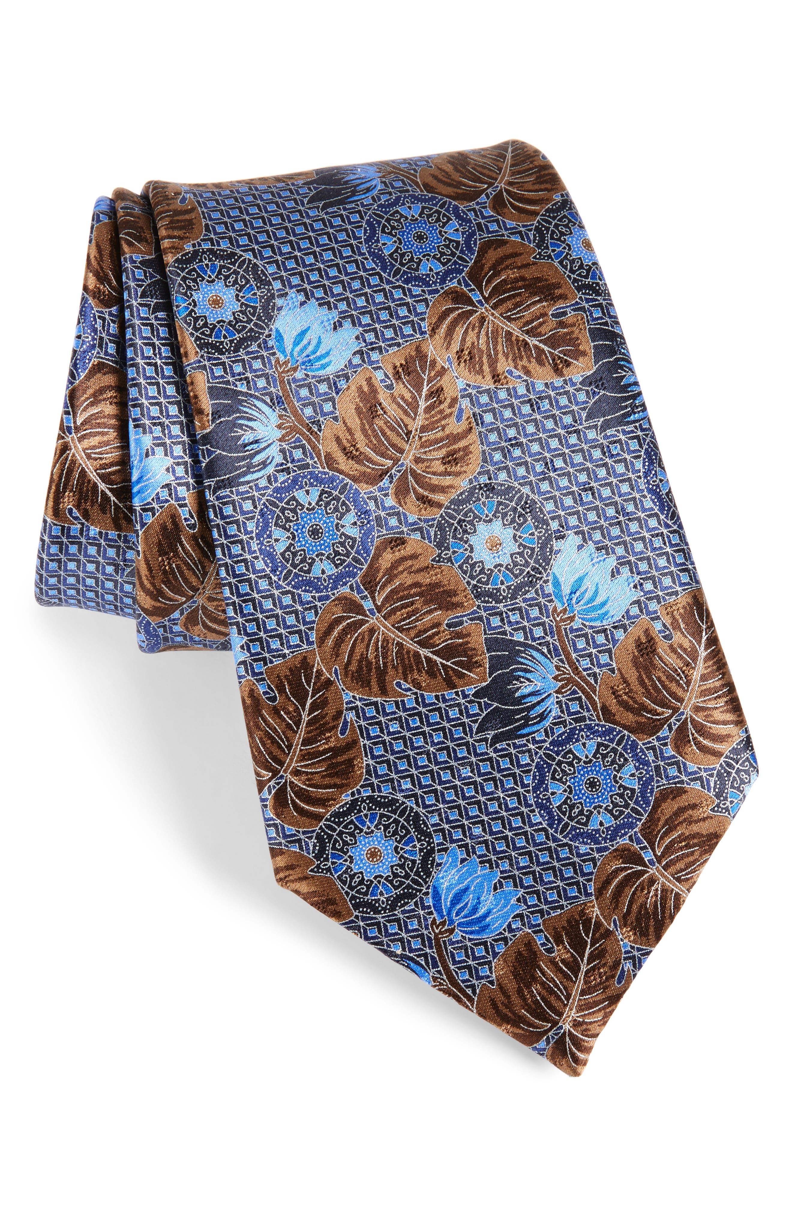 Floral Silk Tie,                         Main,                         color, Blue
