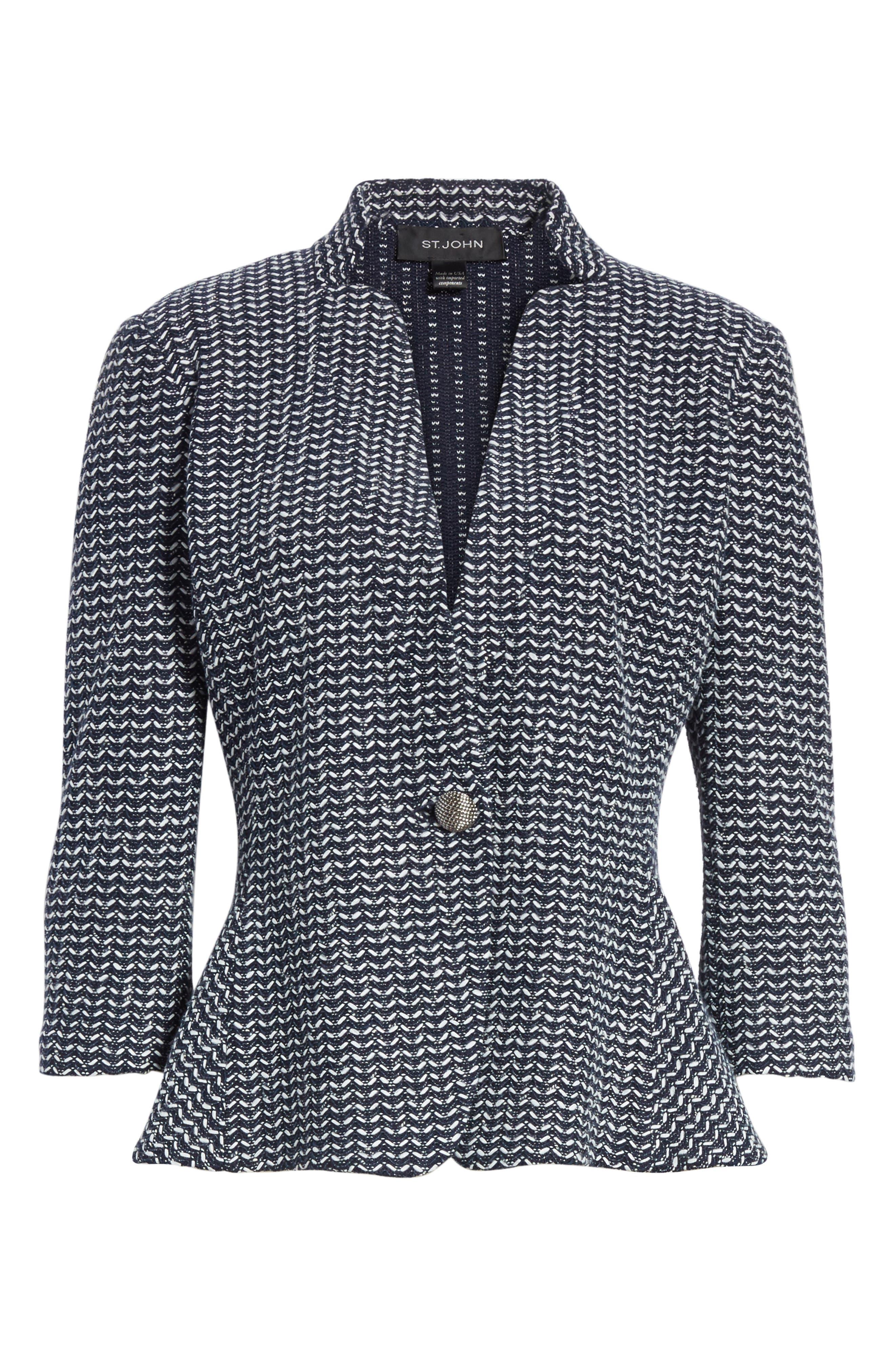 Chevron Knit Jacket,                             Alternate thumbnail 6, color,                             Navy Multi