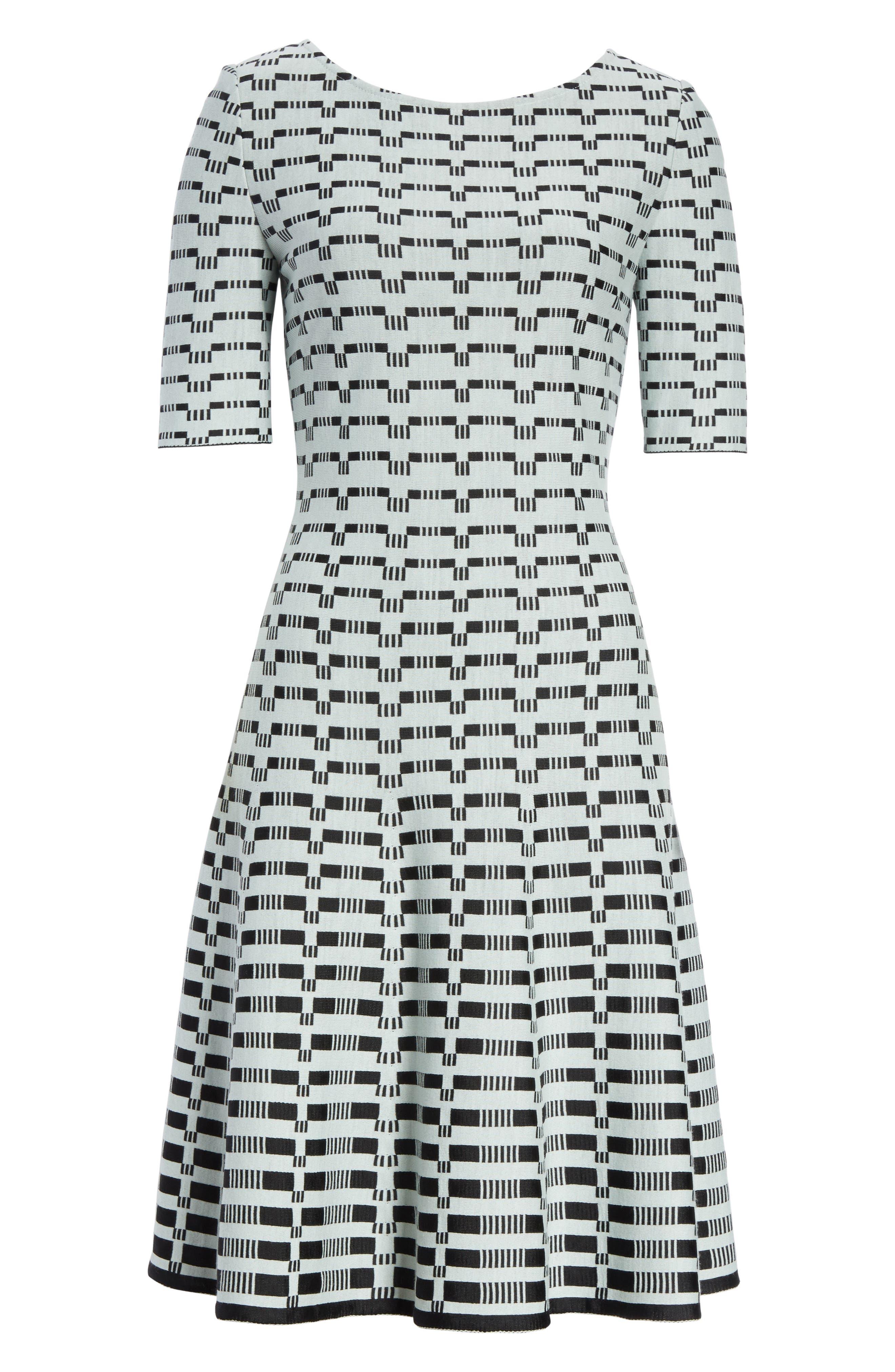 Grid Knit Fit & Flare Dress,                             Alternate thumbnail 7, color,                             Mint/ Caviar