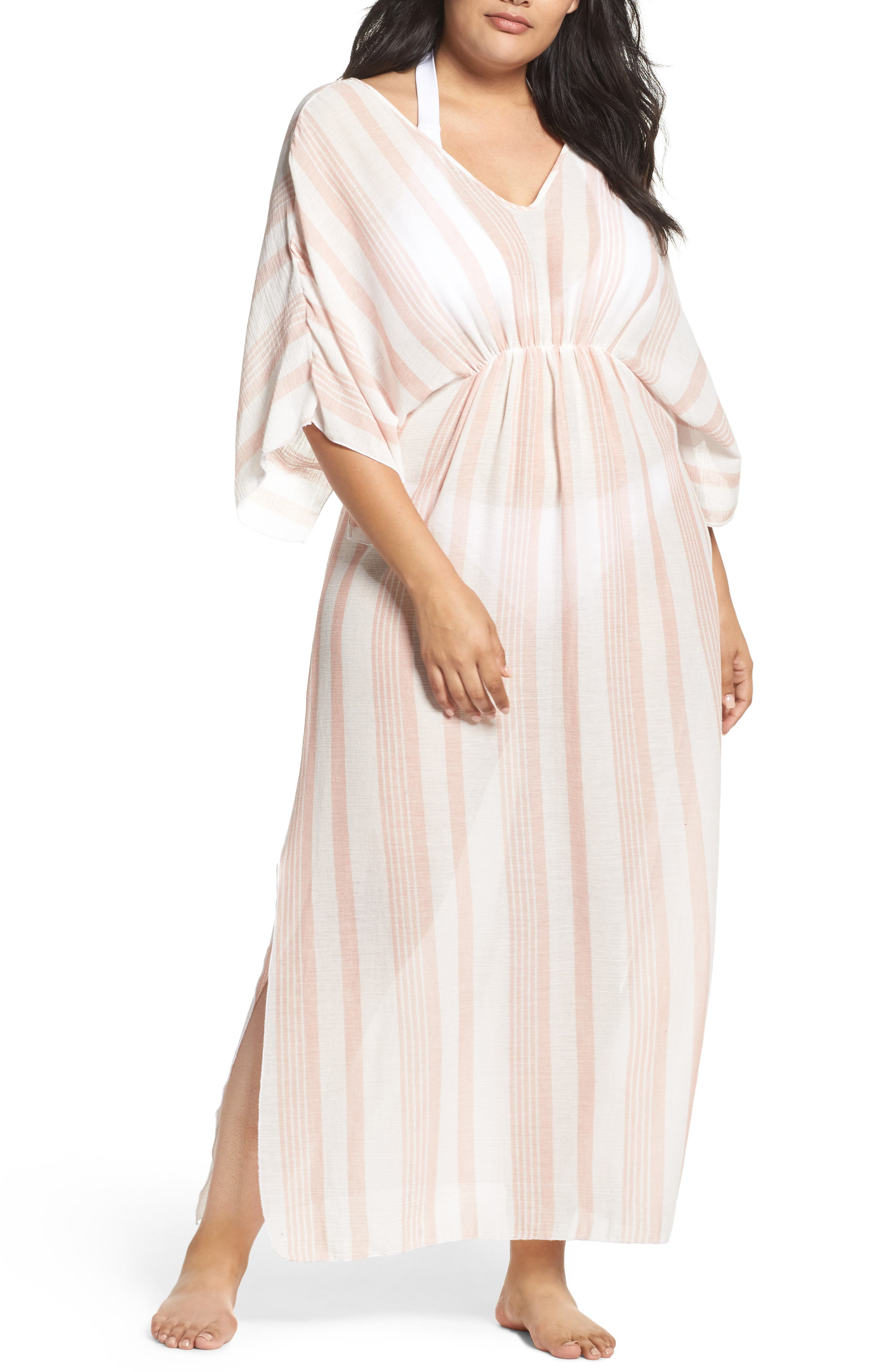 Elan Stripe Cover-Up Caftan (Plus Size)