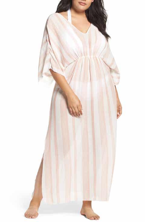 Elan Stripe Cover-Up Caftan (Plus Size)