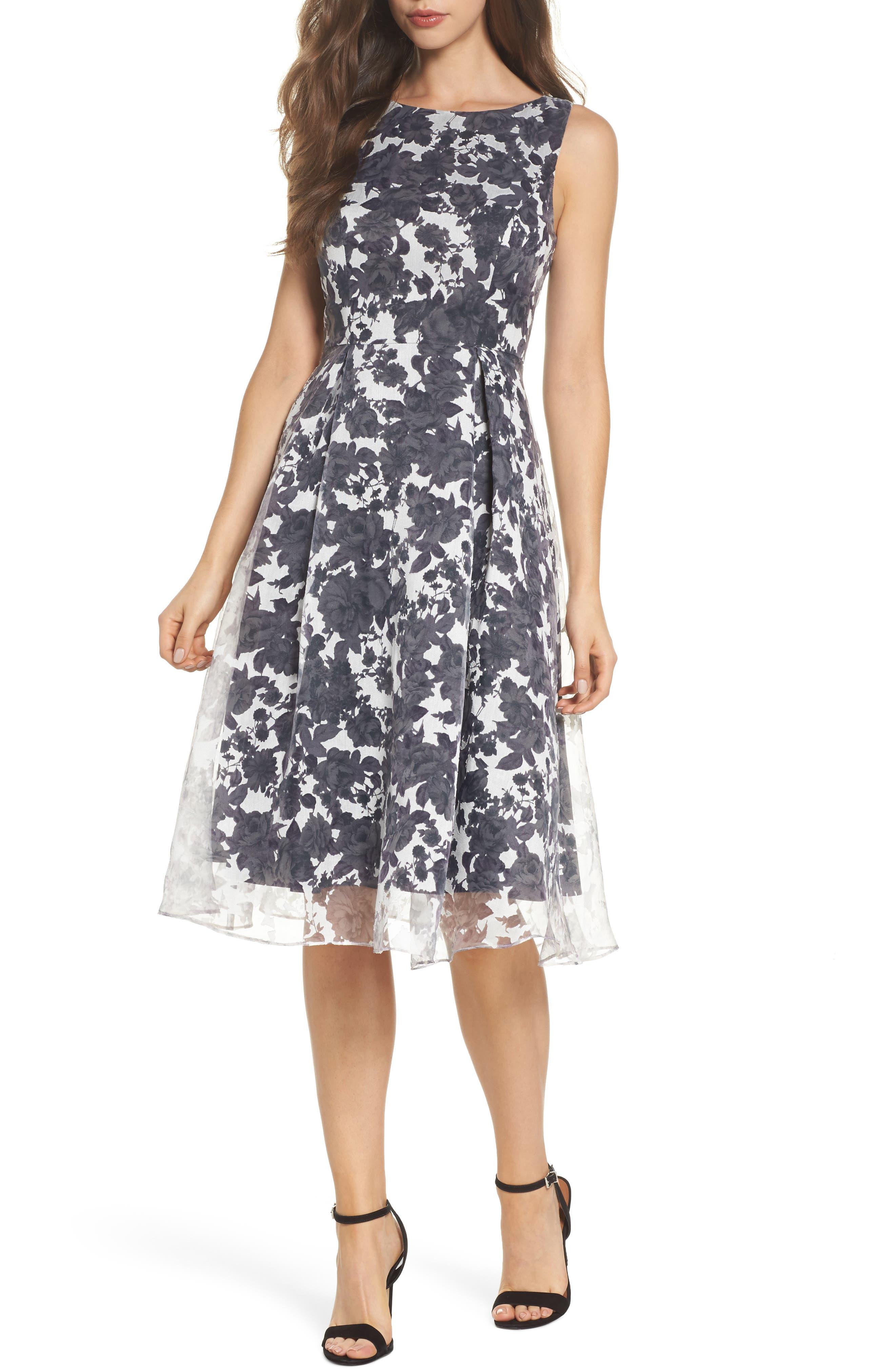 Alyssa Fit & Flare Dress,                             Main thumbnail 1, color,                             Lilac Mist