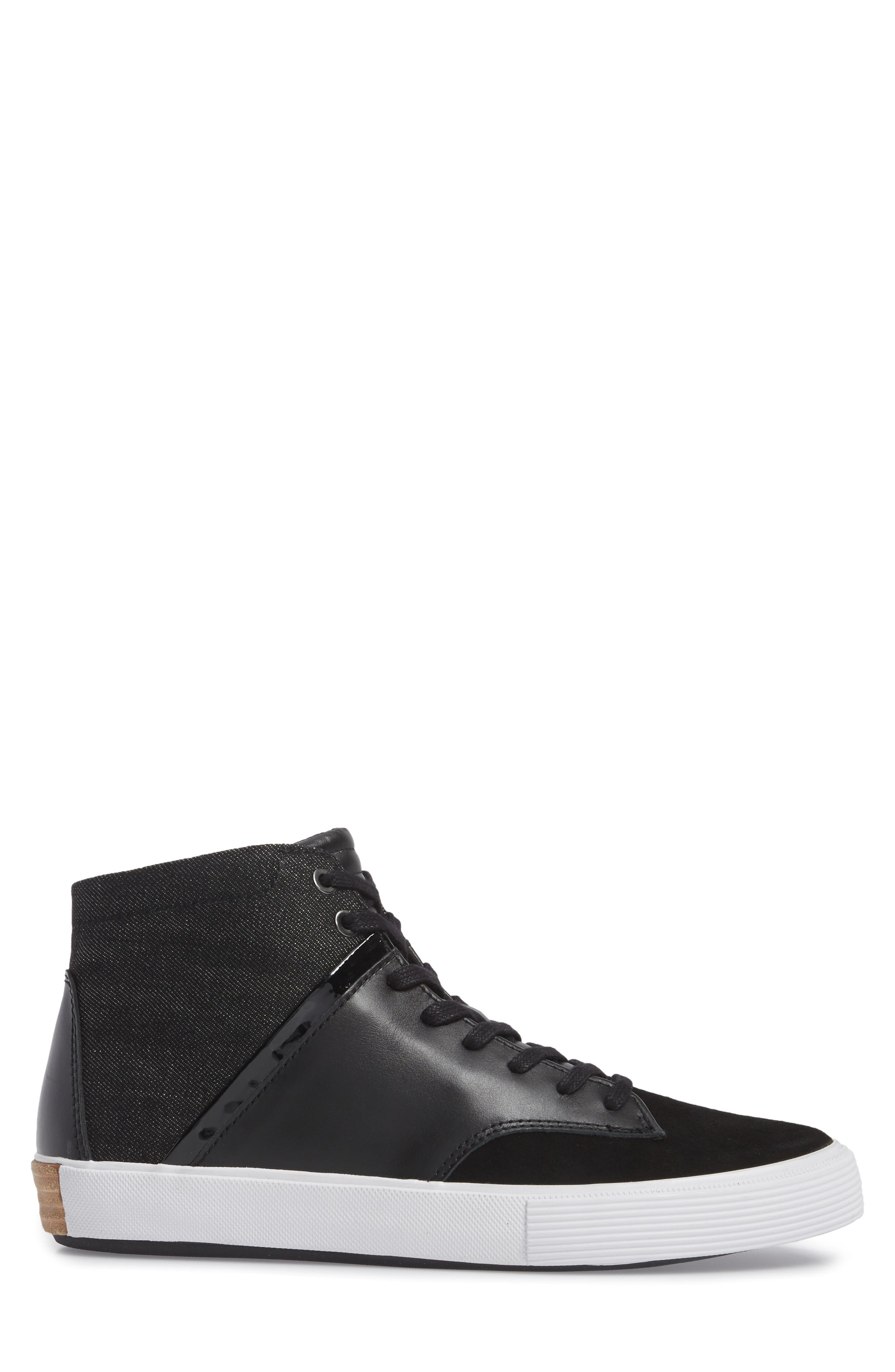 Joe Mac High Top Sneaker,                             Alternate thumbnail 3, color,                             Black Leather