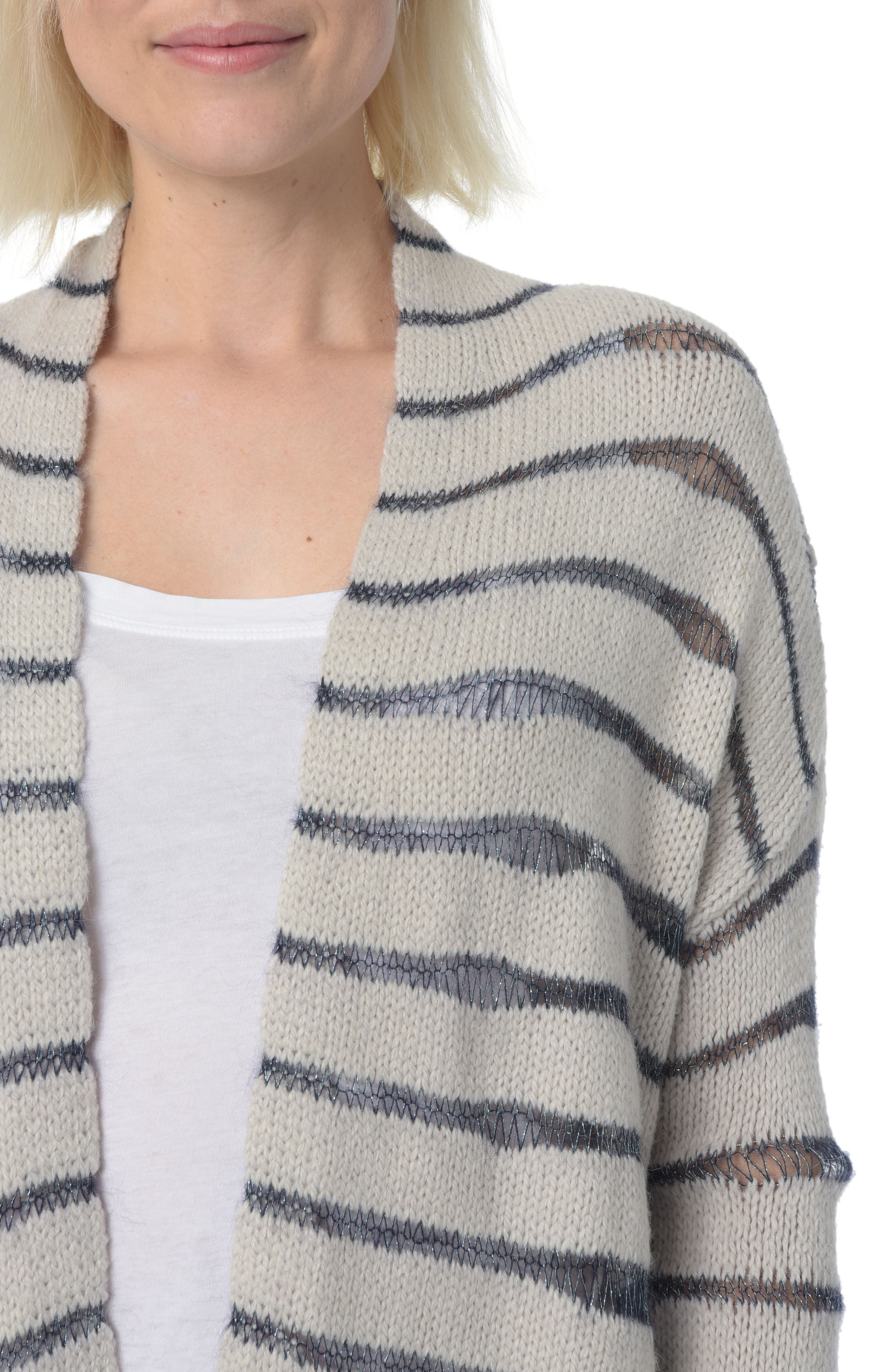 Alternate Image 3  - NYDJ Metallic Striped Cardigan