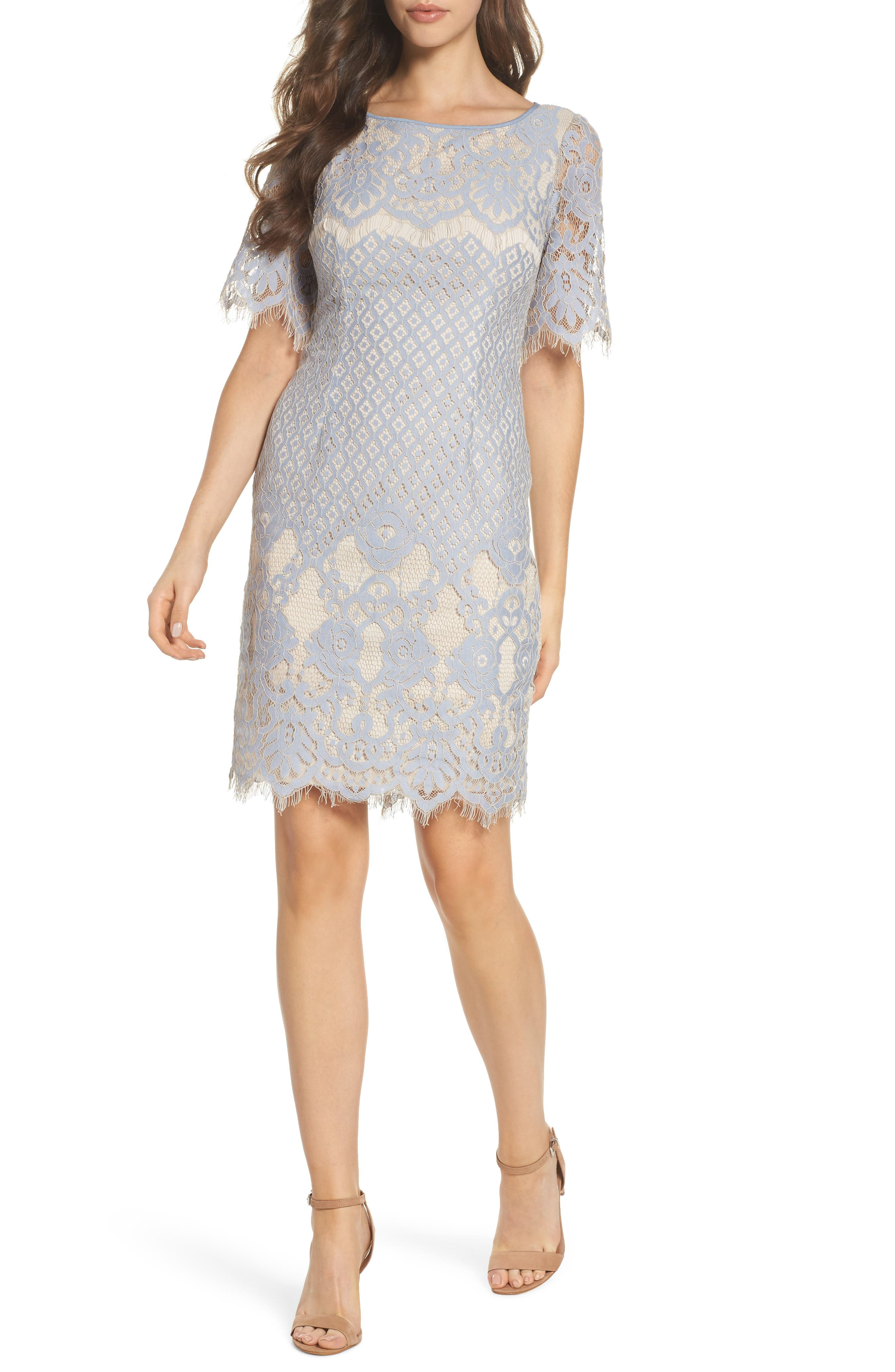 Georgia Lace Sheath Dress,                         Main,                         color, Sky/ Cadmium