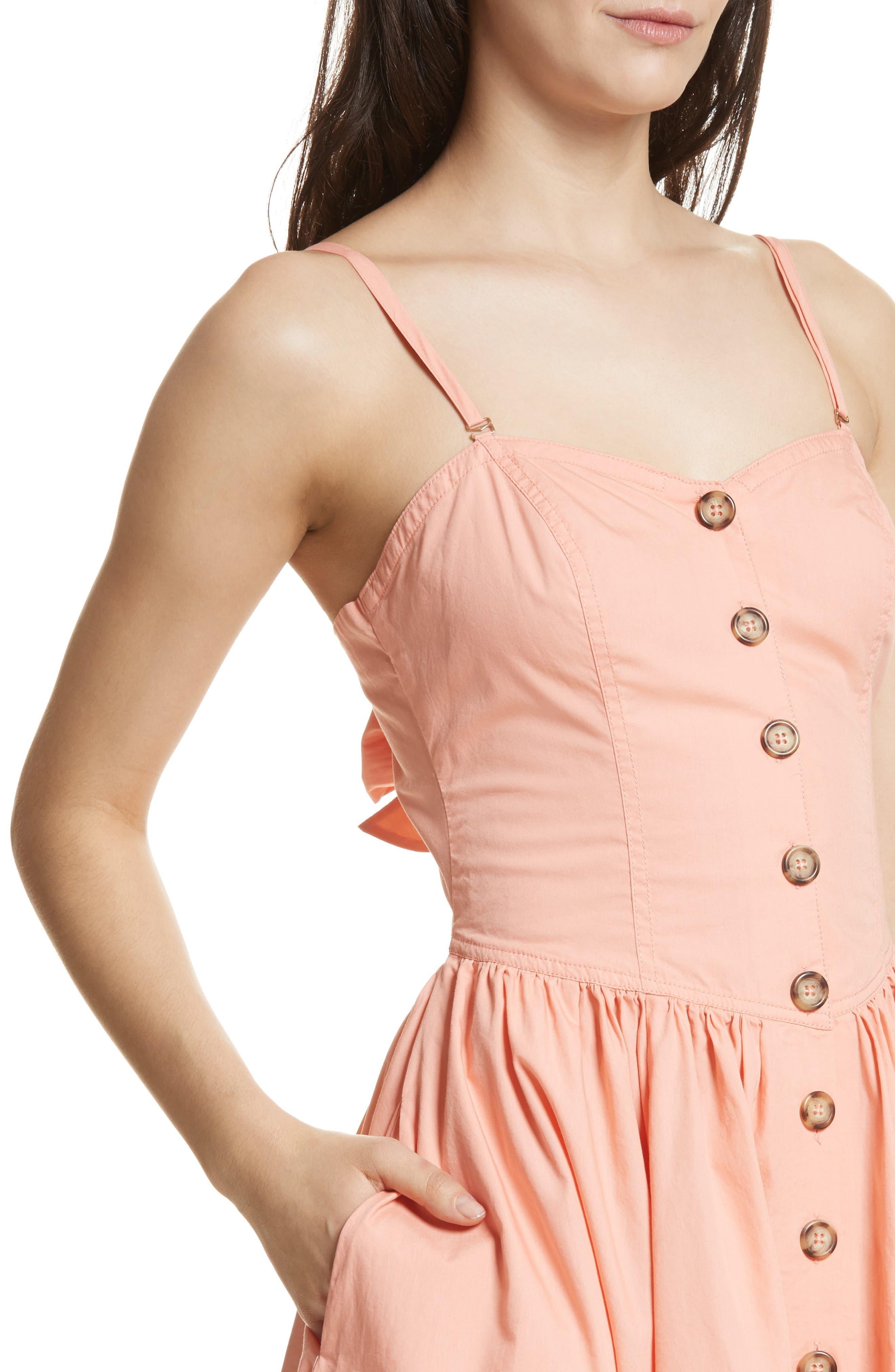 Perfect Peach Poplin Midi Dress,                             Alternate thumbnail 5, color,                             Pink