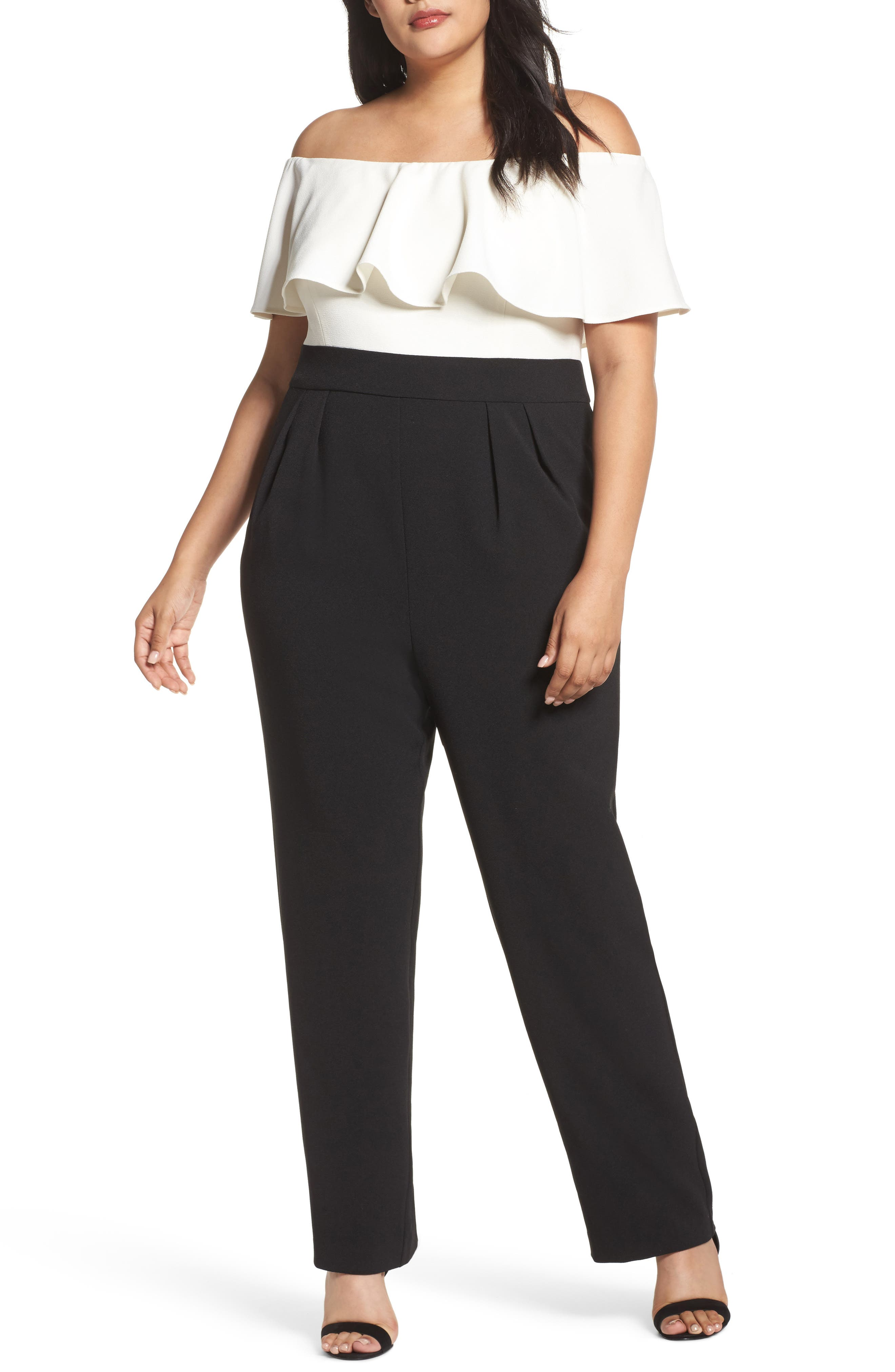 Off the Shoulder Jumpsuit,                         Main,                         color, Ivory/ Black