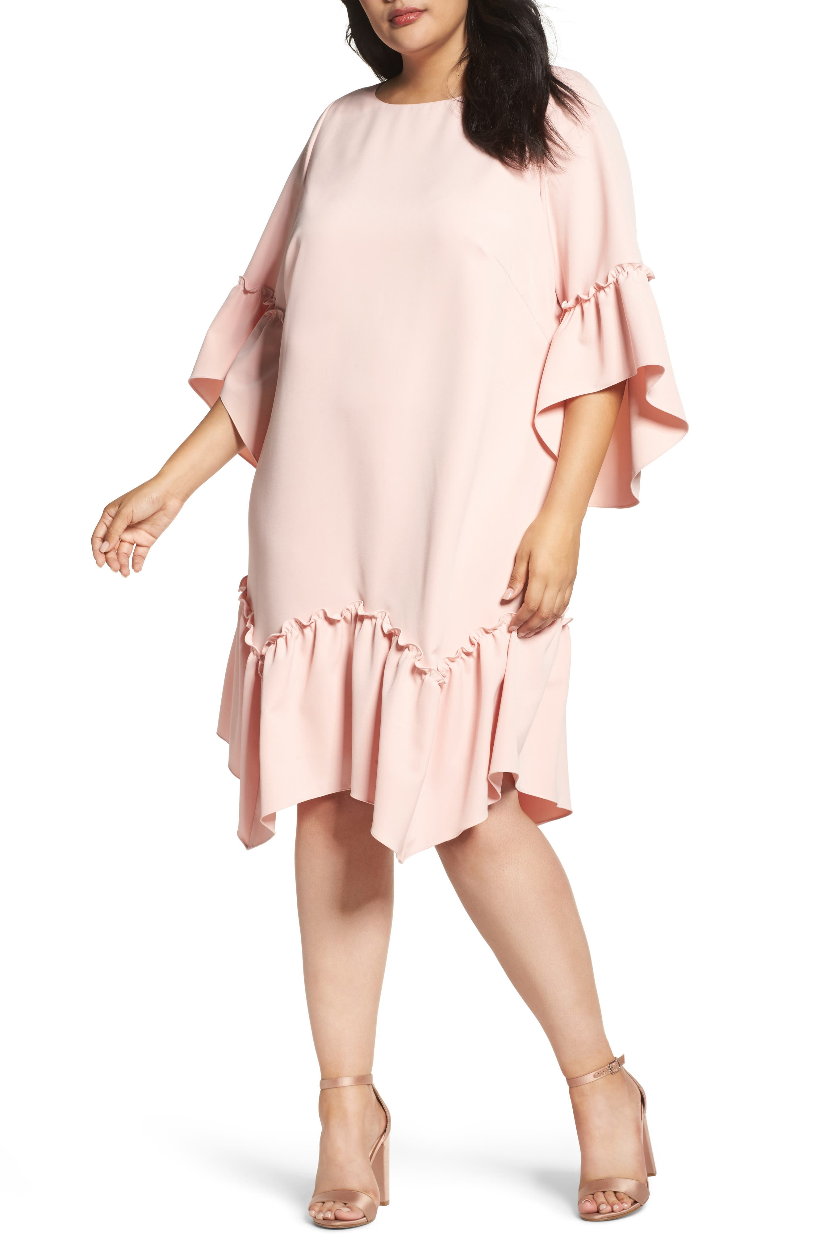 Eliza J Elbow Sleeve Ruffle Hem Shift Dress