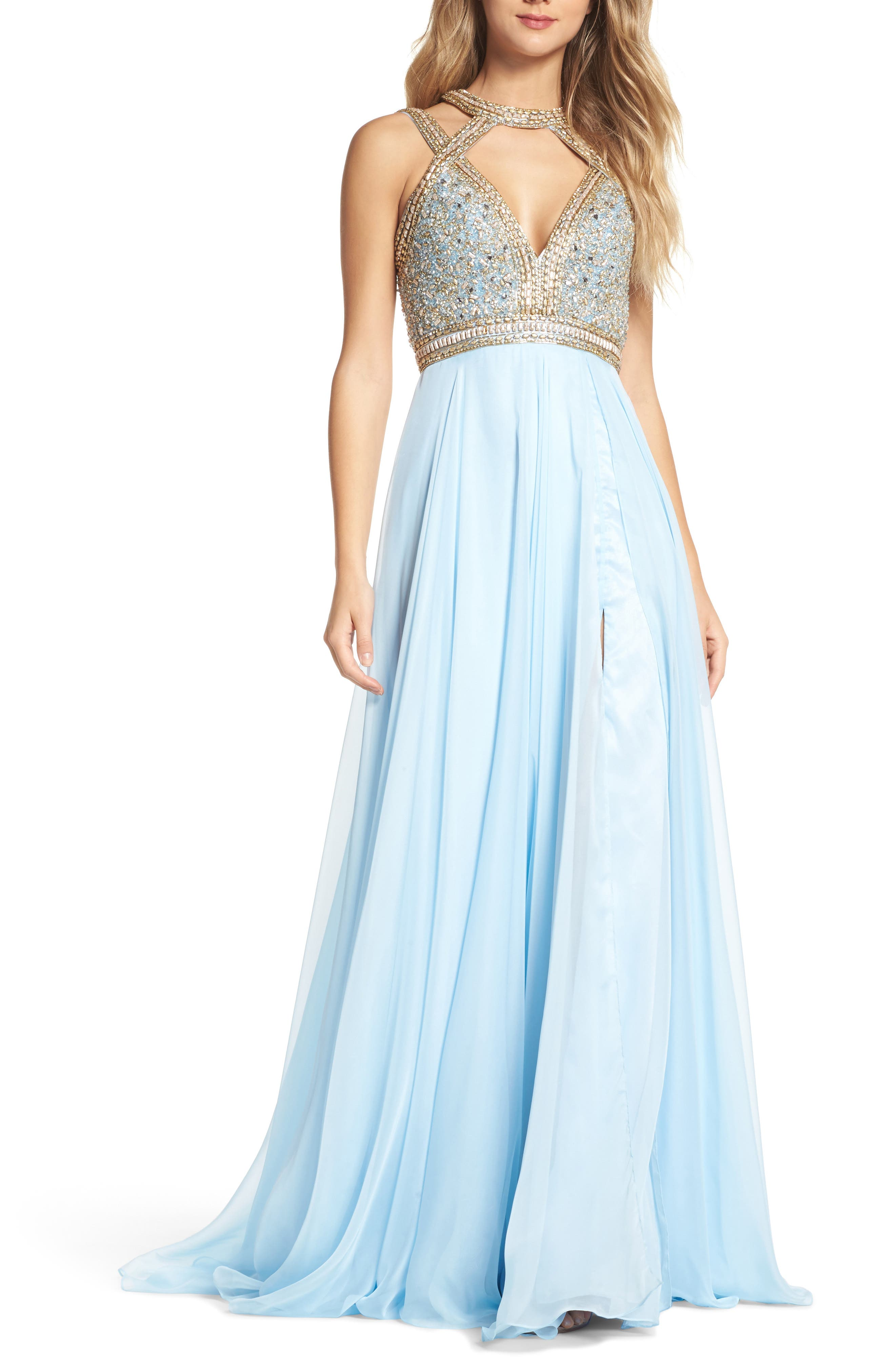 Beaded Cutout Bodice Gown,                             Main thumbnail 1, color,                             Ice Blue