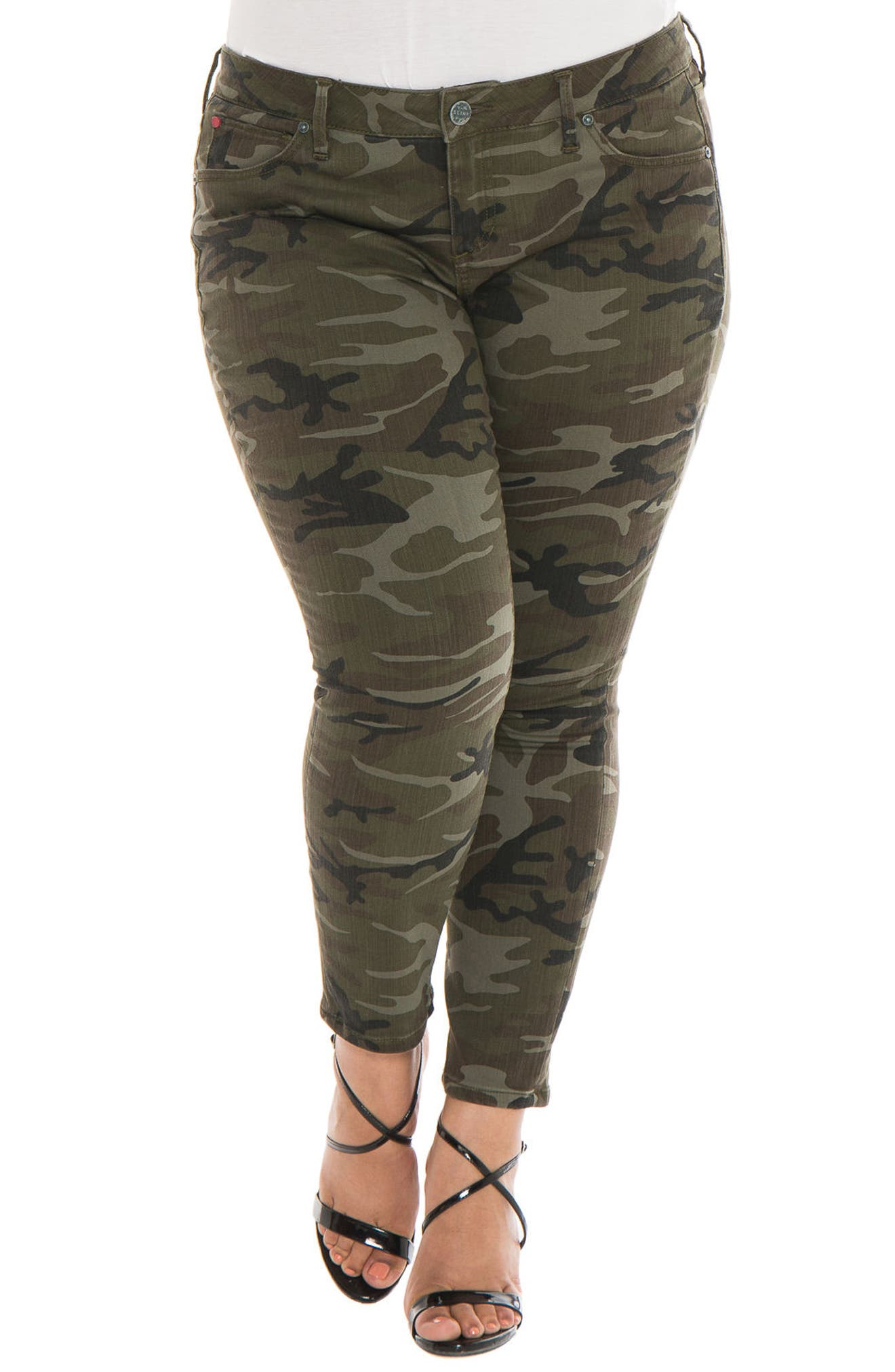 Camo Ankle Skinny Jeans,                         Main,                         color, Olive Camo