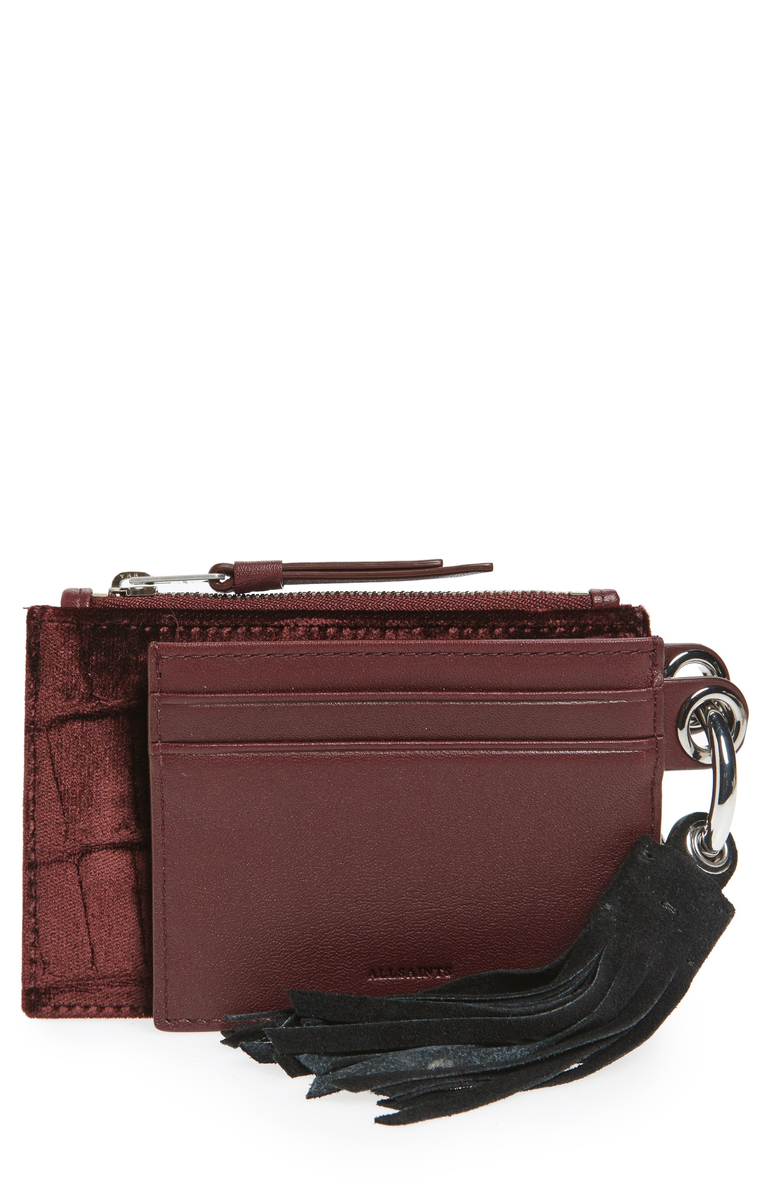 ALLSAINTS Dive Key Fob Leather & Suede Zip Pouch & Card Case