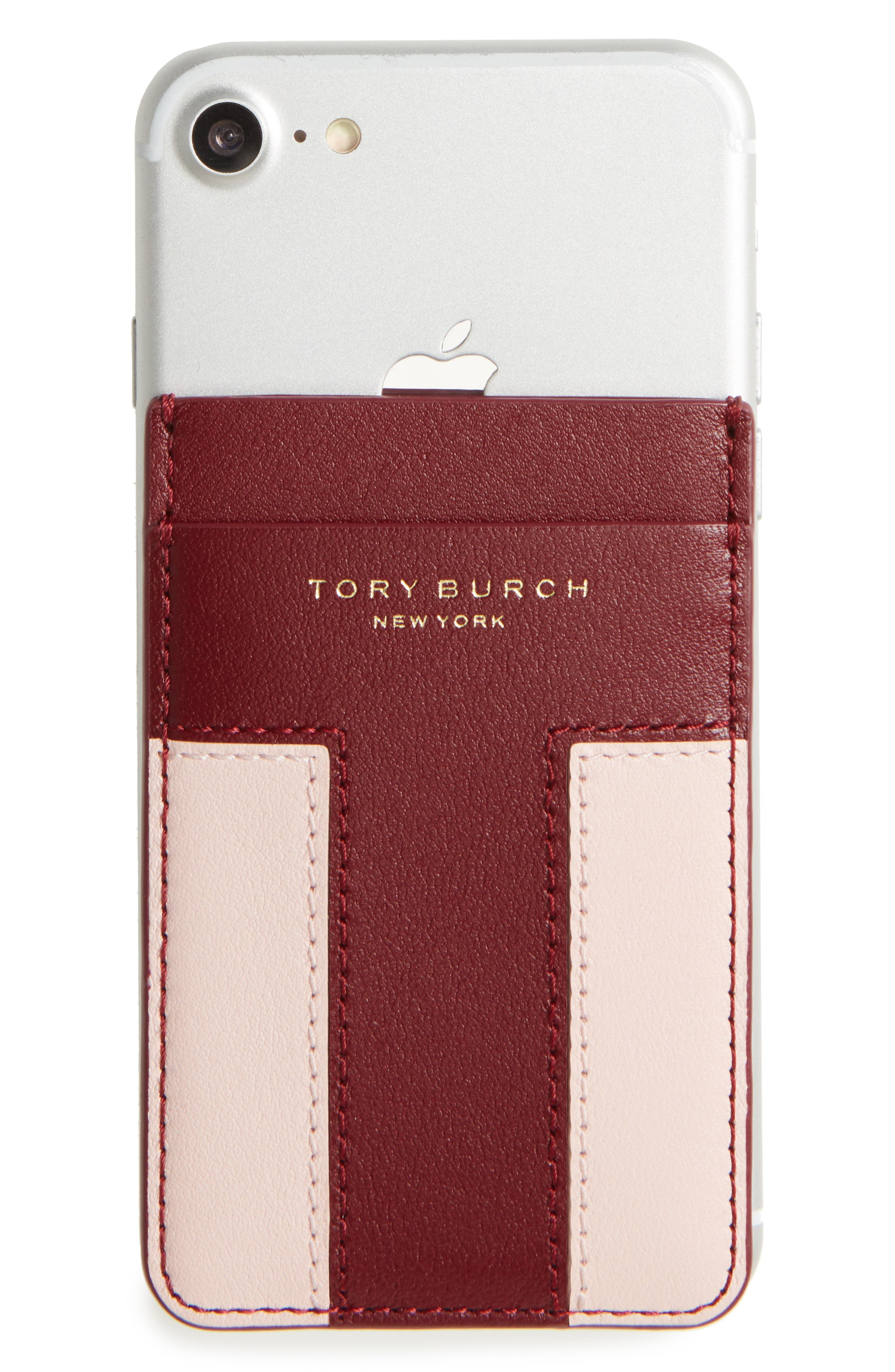 Tory Burch Block-T Logo Travel Leather Card Pocket