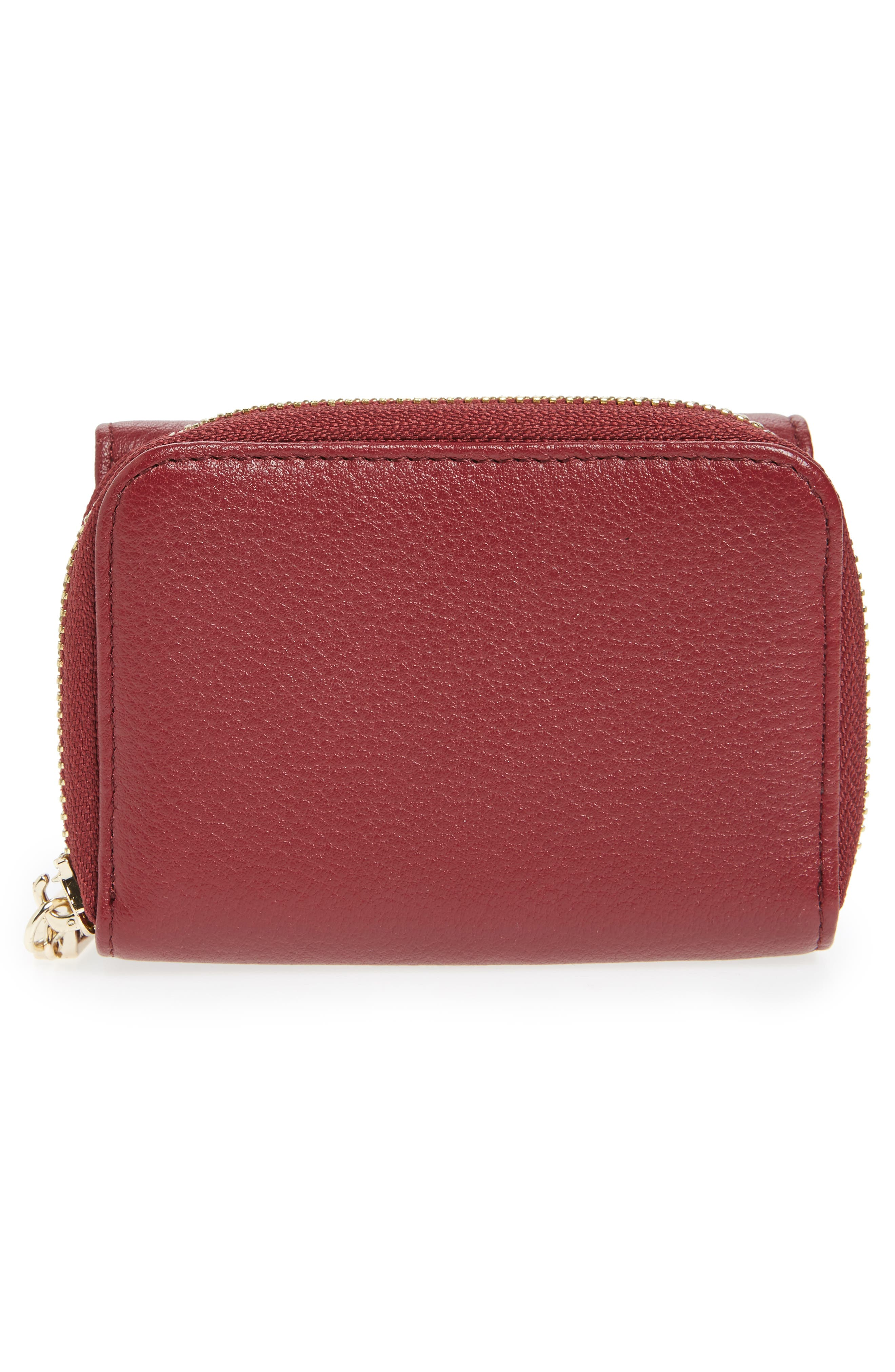 Céline Dion Small Adagio Leather Wallet,                             Alternate thumbnail 2, color,                             Dark Red