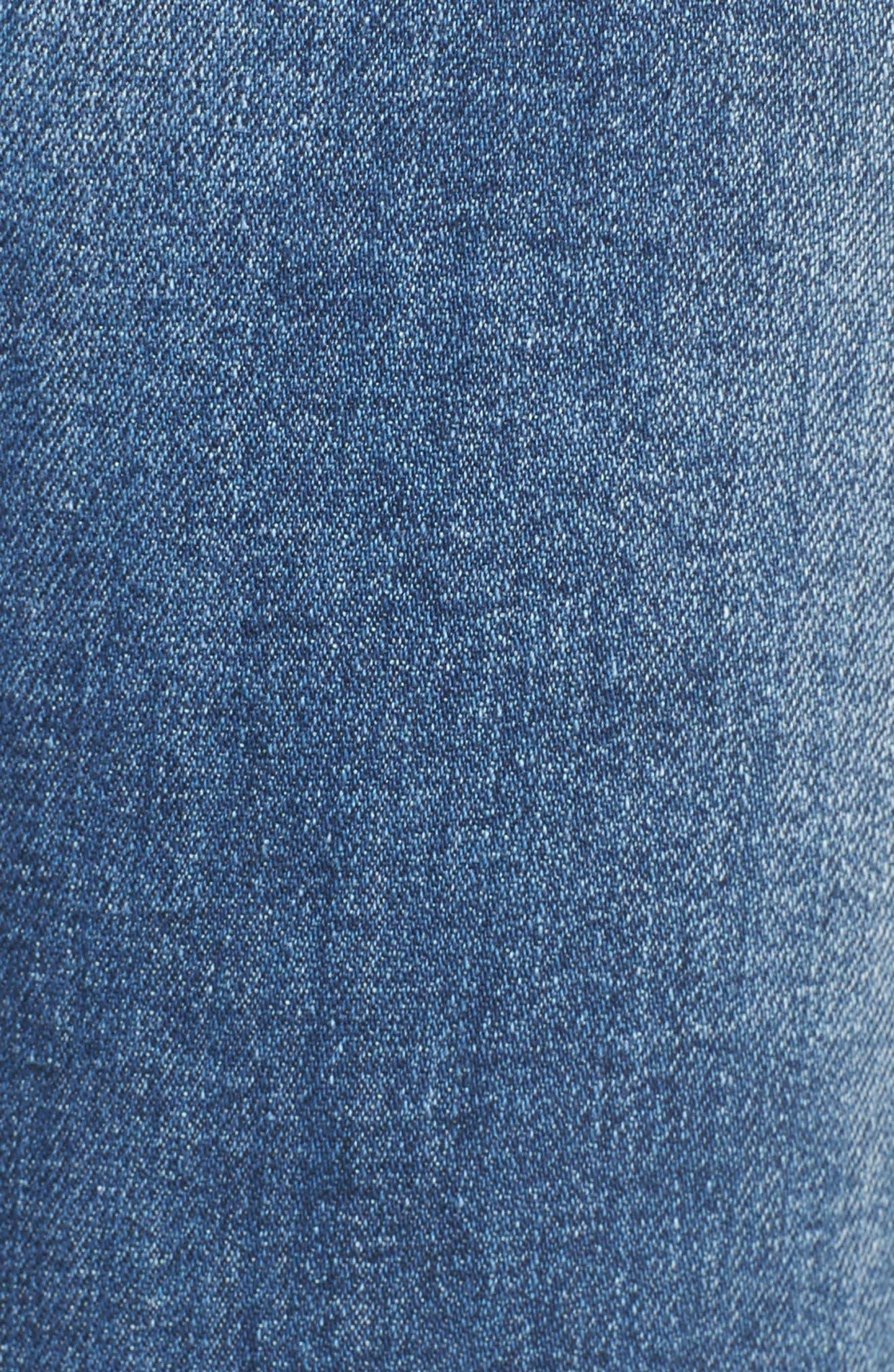 Frayed Waist Skinny Jeans,                             Alternate thumbnail 6, color,                             Medium Light