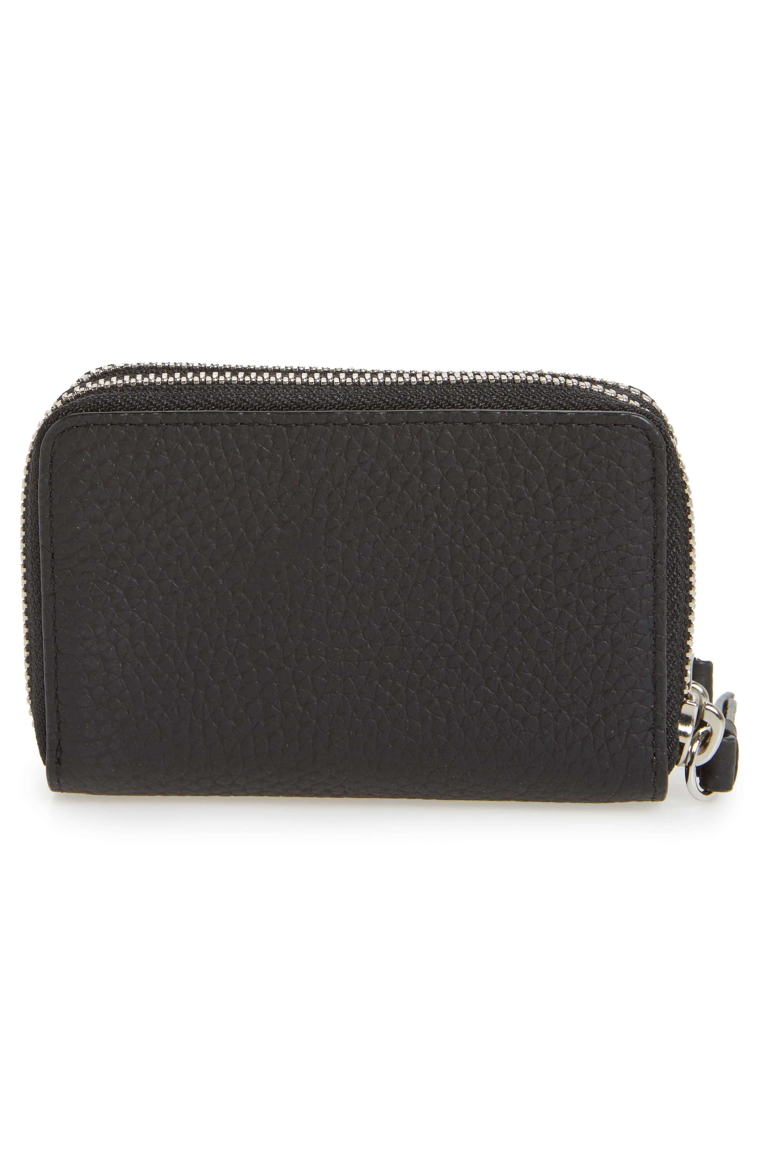Fetch Leather Card Holder,                             Alternate thumbnail 3, color,                             Black
