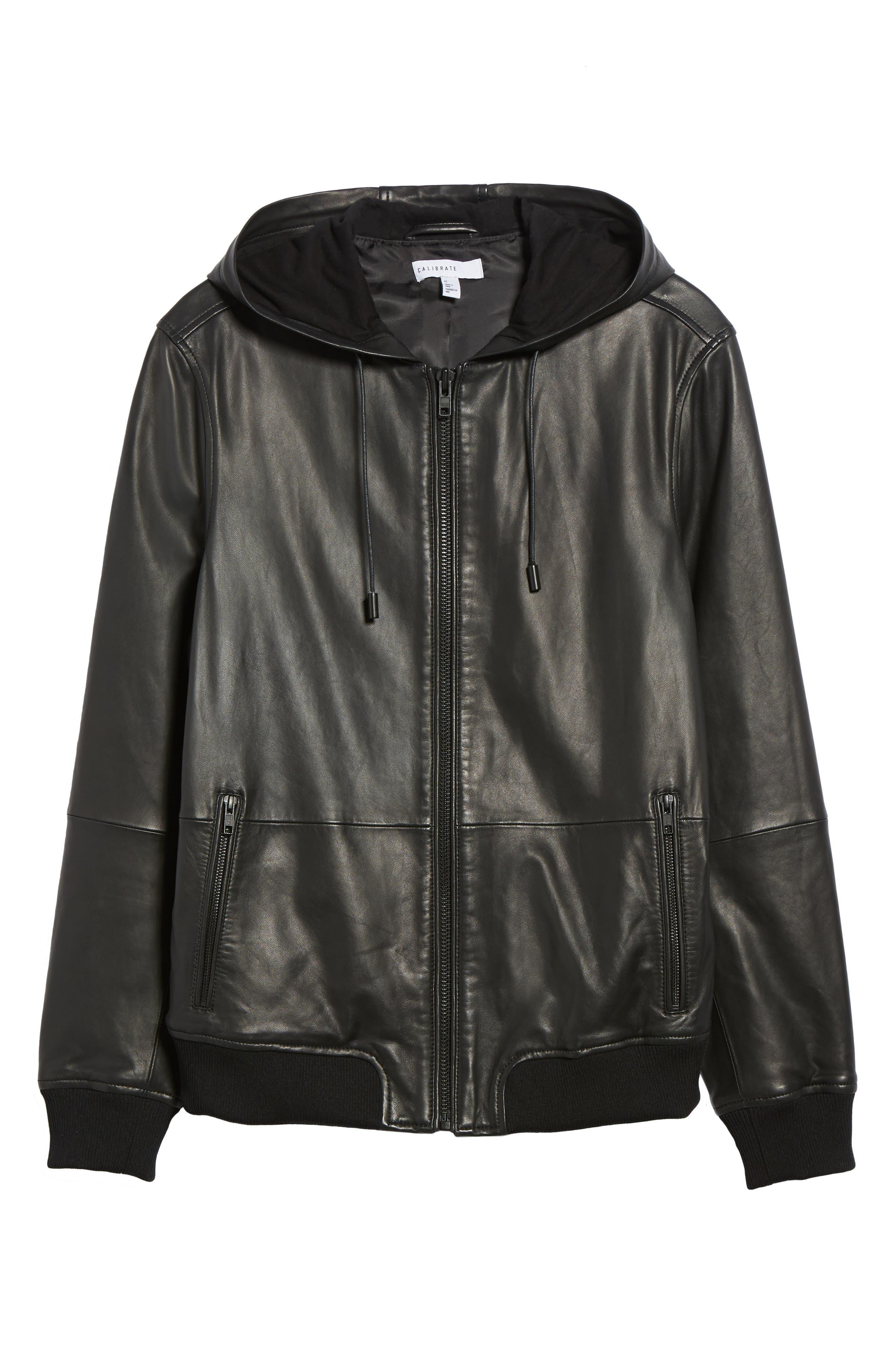 Hooded Leather Jacket,                             Alternate thumbnail 6, color,                             Black
