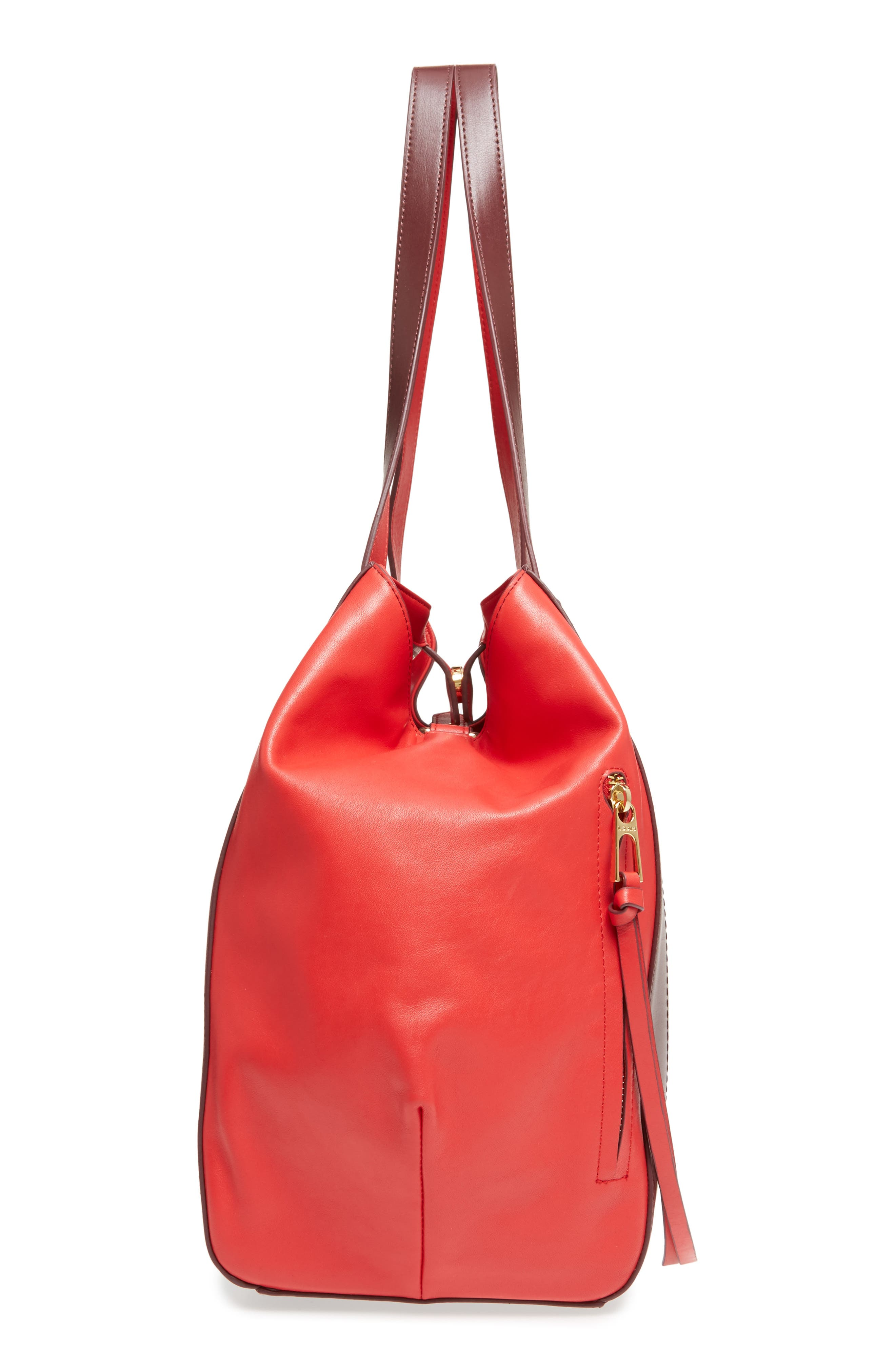 Downtown Charlize RFID Leather Tote,                             Alternate thumbnail 5, color,                             Red/ Chianti