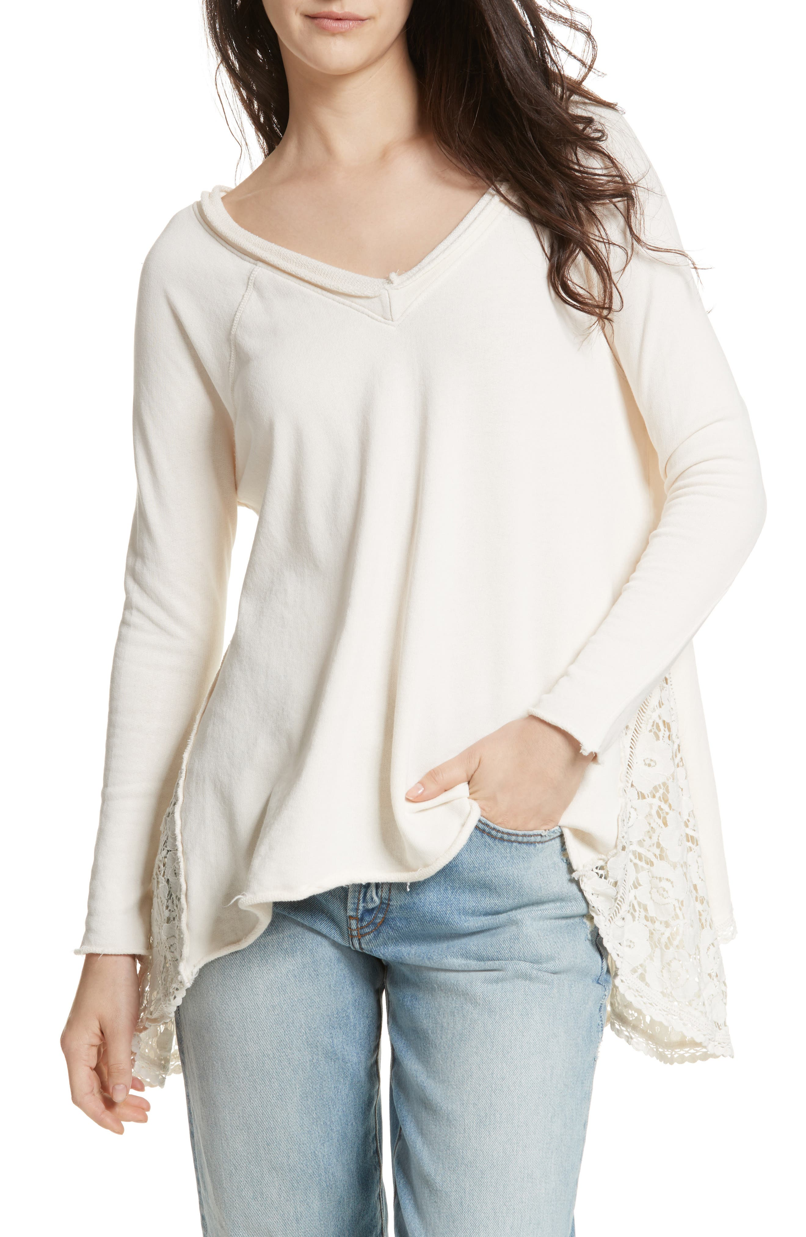 No Frills Lace Inset Asymmetrical Top,                             Alternate thumbnail 6, color,                             Ivory