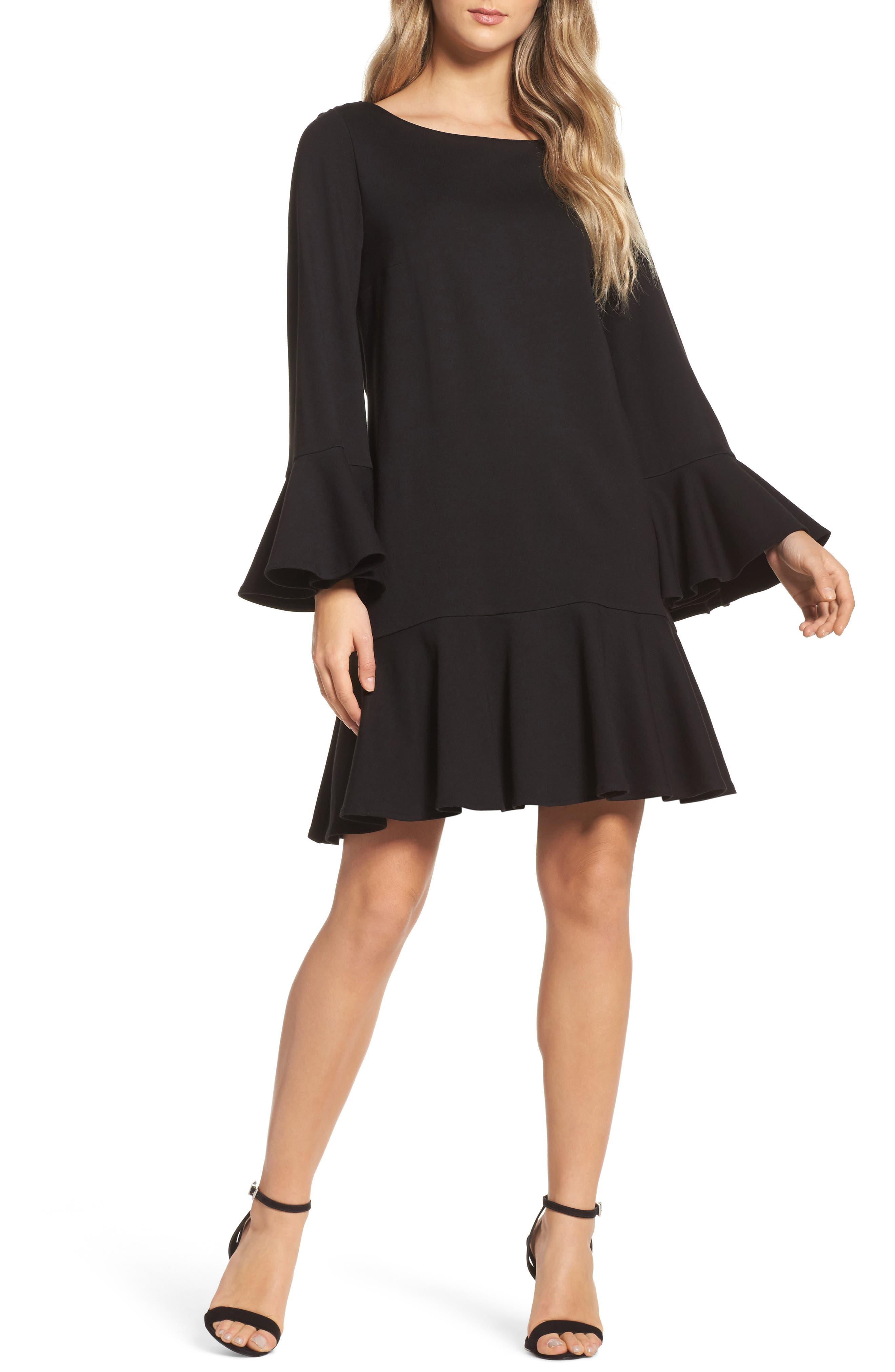 Matuku Lula Bell Sleeve Dress,                             Main thumbnail 1, color,                             Black