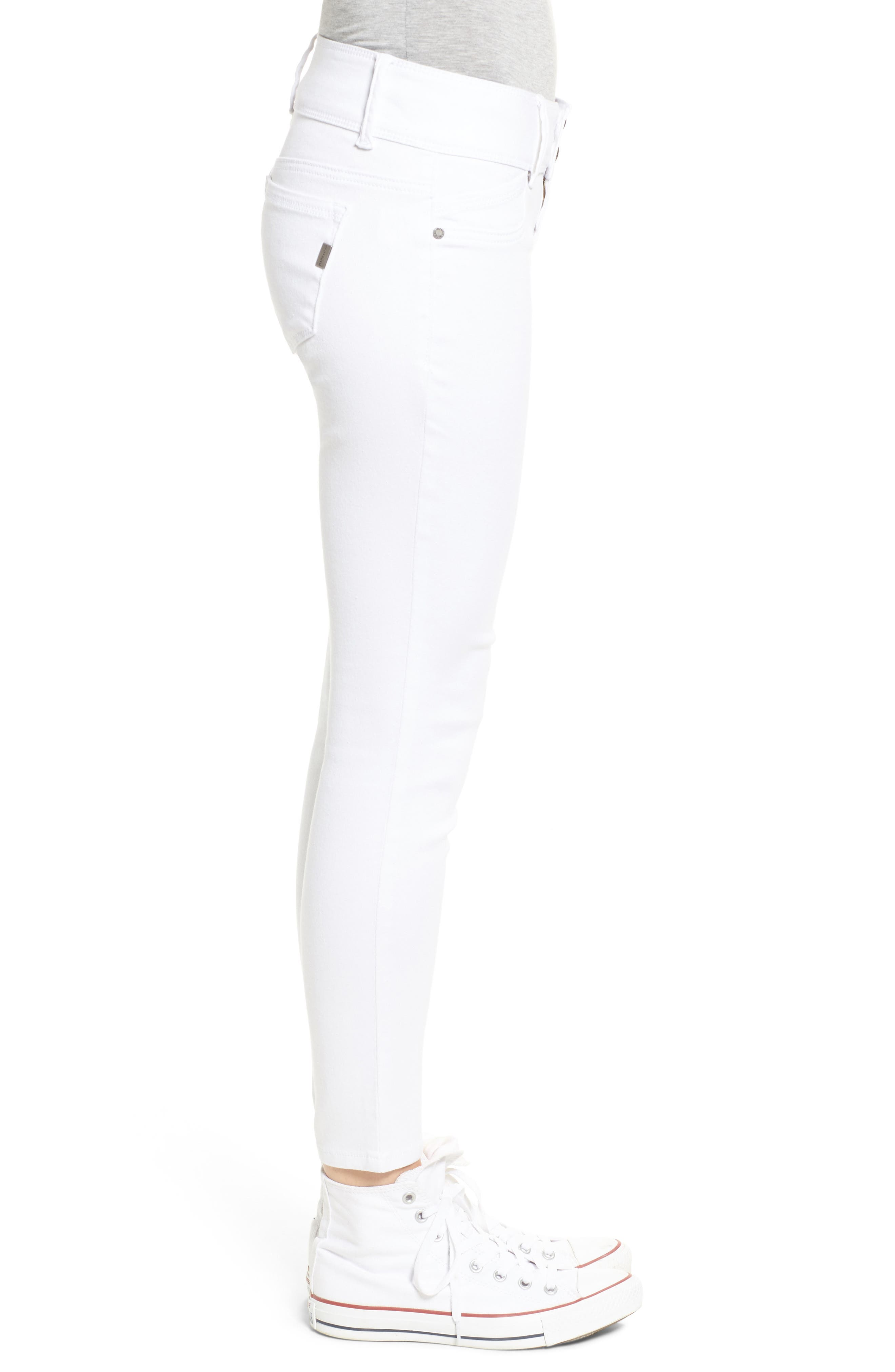 Double Button Skinny Jeans,                             Alternate thumbnail 3, color,                             White