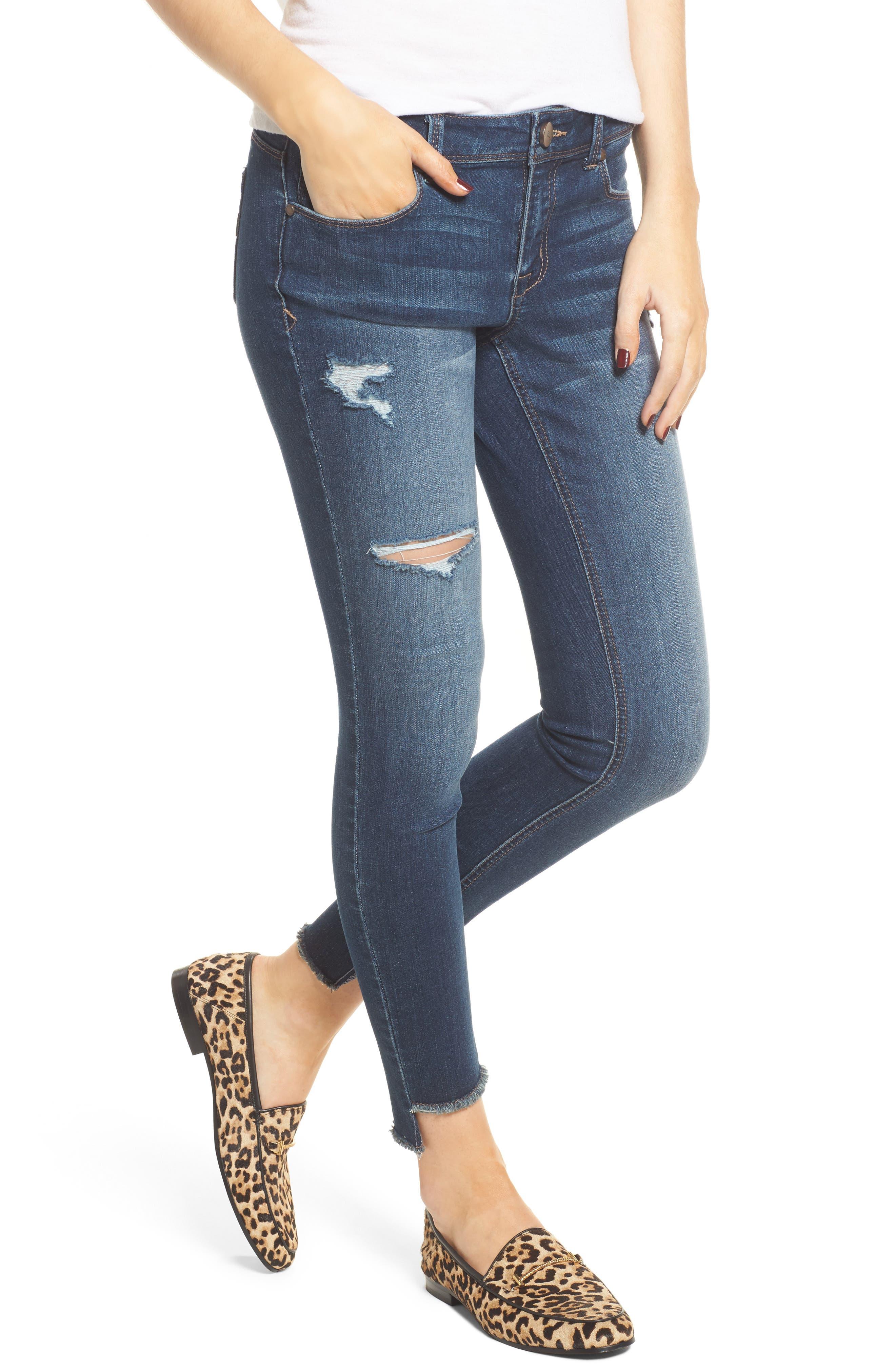Main Image - 1822 Denim Step Hem Skinny Jeans (Eleni)