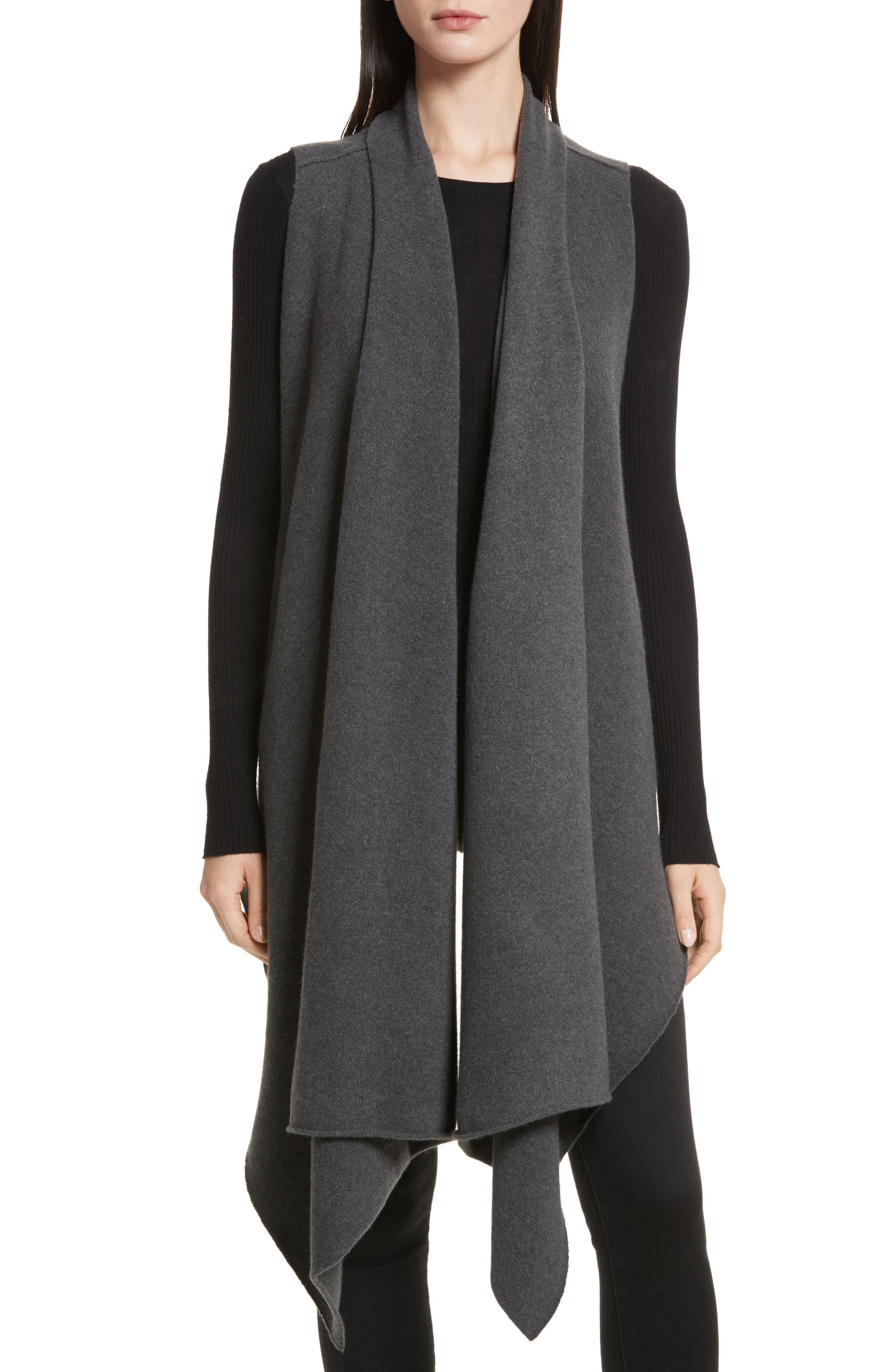 Sorin Merino Wool Blend Wrap Vest,                         Main,                         color, Shale Melange