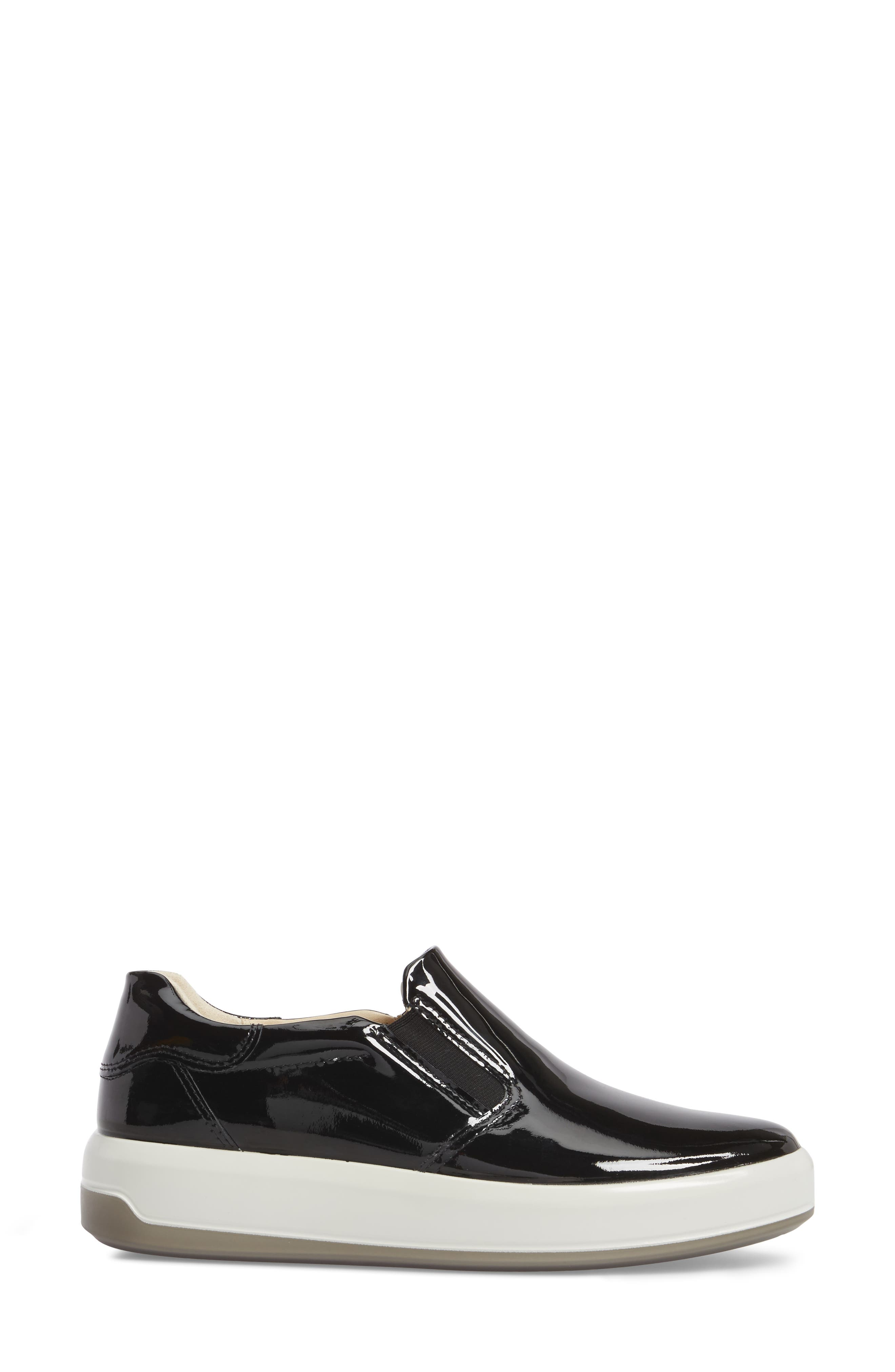 Soft 9 Slip-On Sneaker,                             Alternate thumbnail 3, color,                             Black Patent Leather