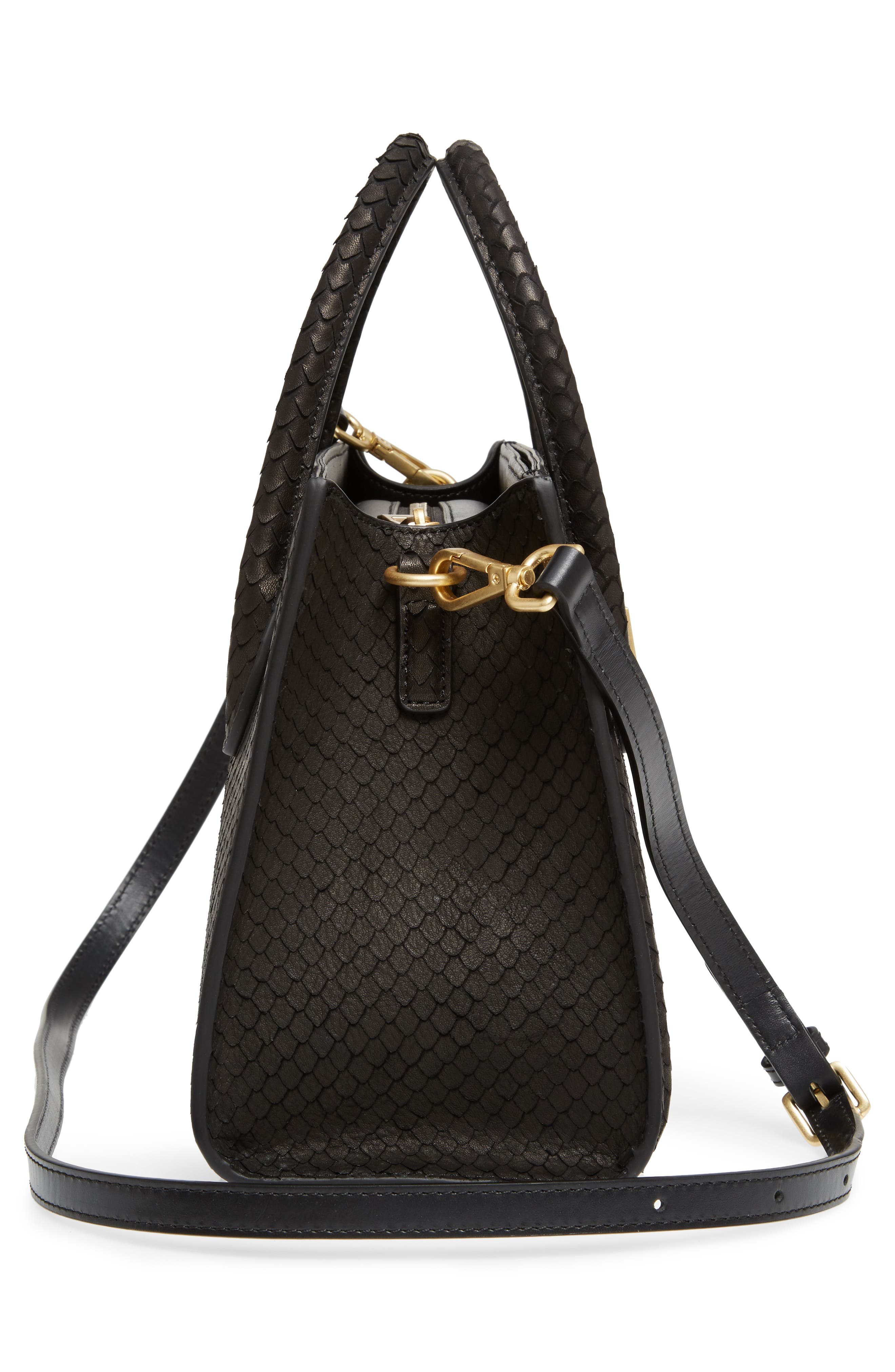 Céline Dion Octave Snake Embossed Leather Satchel,                             Alternate thumbnail 5, color,                             Black Snake