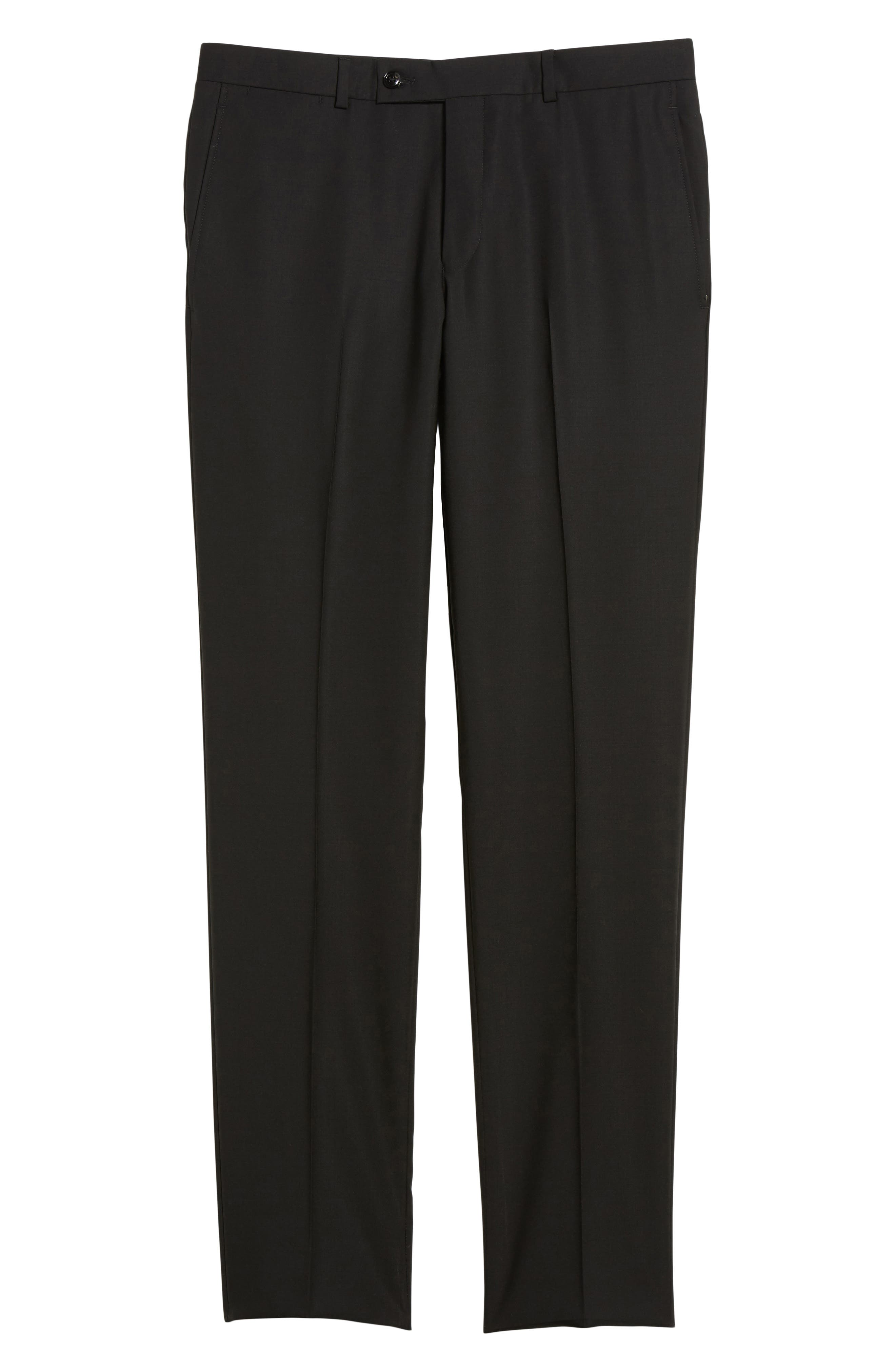 Jefferson Flat Front Solid Wool Trousers,                             Alternate thumbnail 6, color,                             Black
