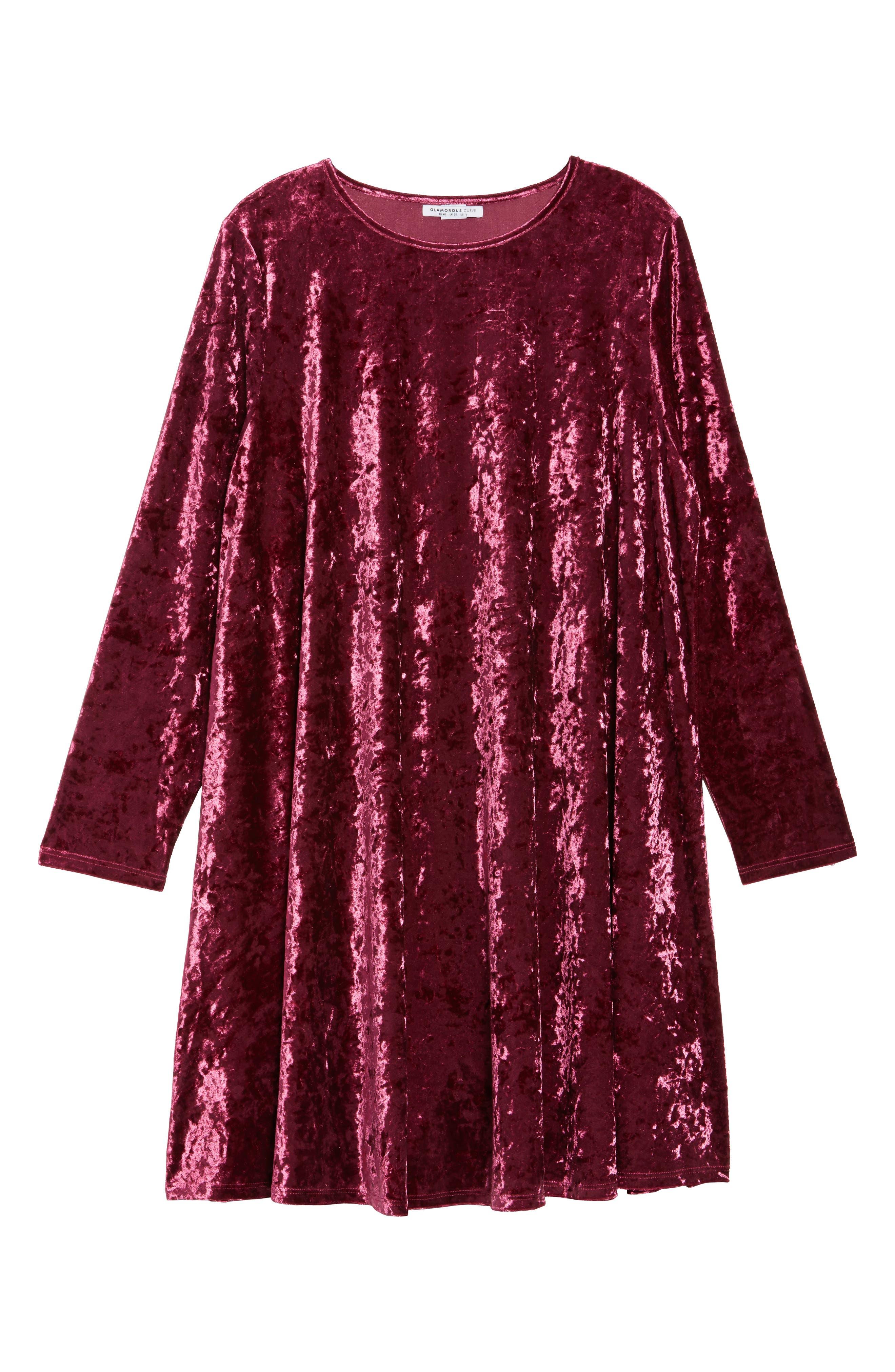 Alternate Image 6  - Glamorous Velvet Shift Dress (Plus Size)