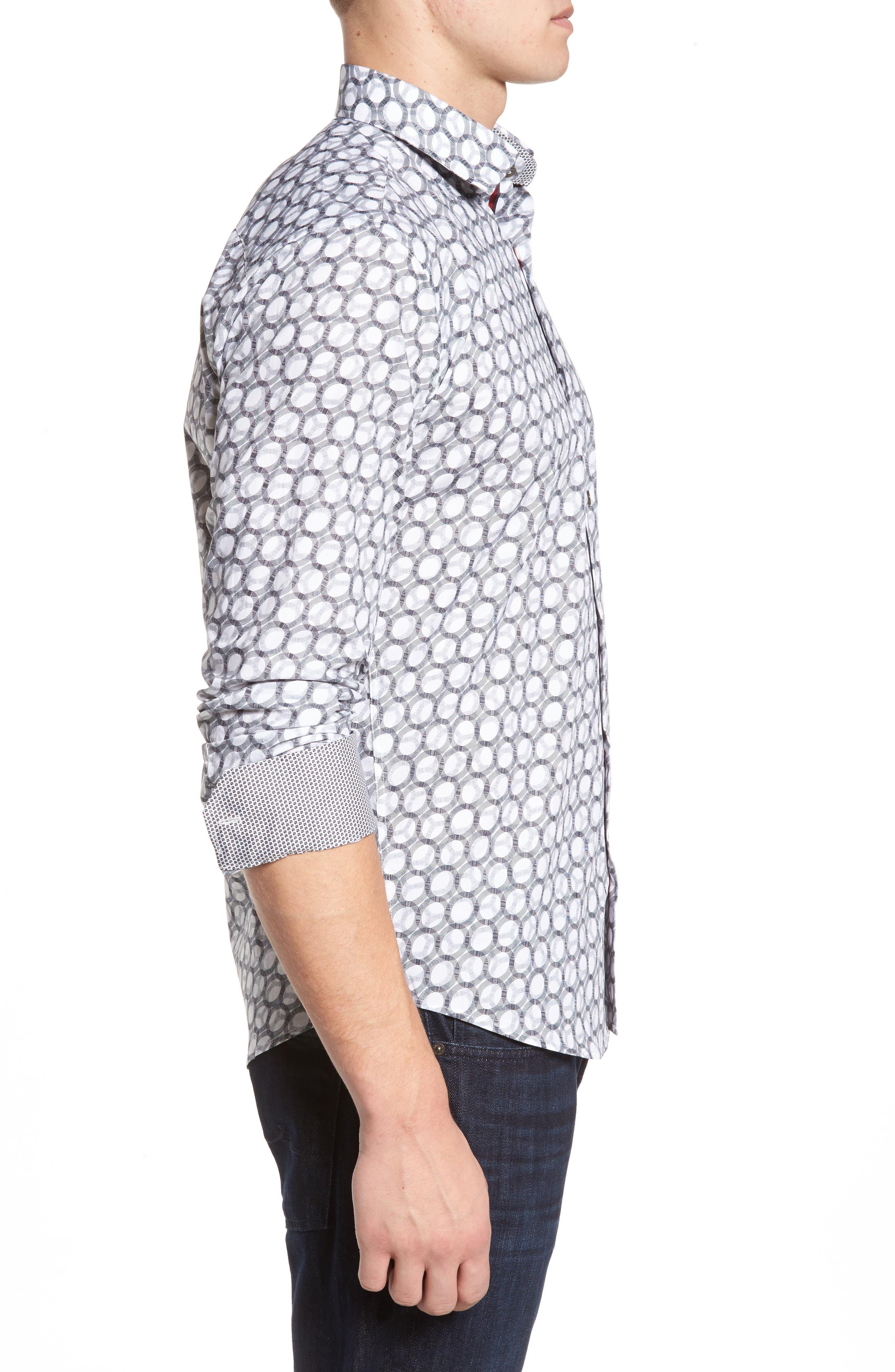 Shaped Fit Optic Print Sport Shirt,                             Alternate thumbnail 3, color,                             White