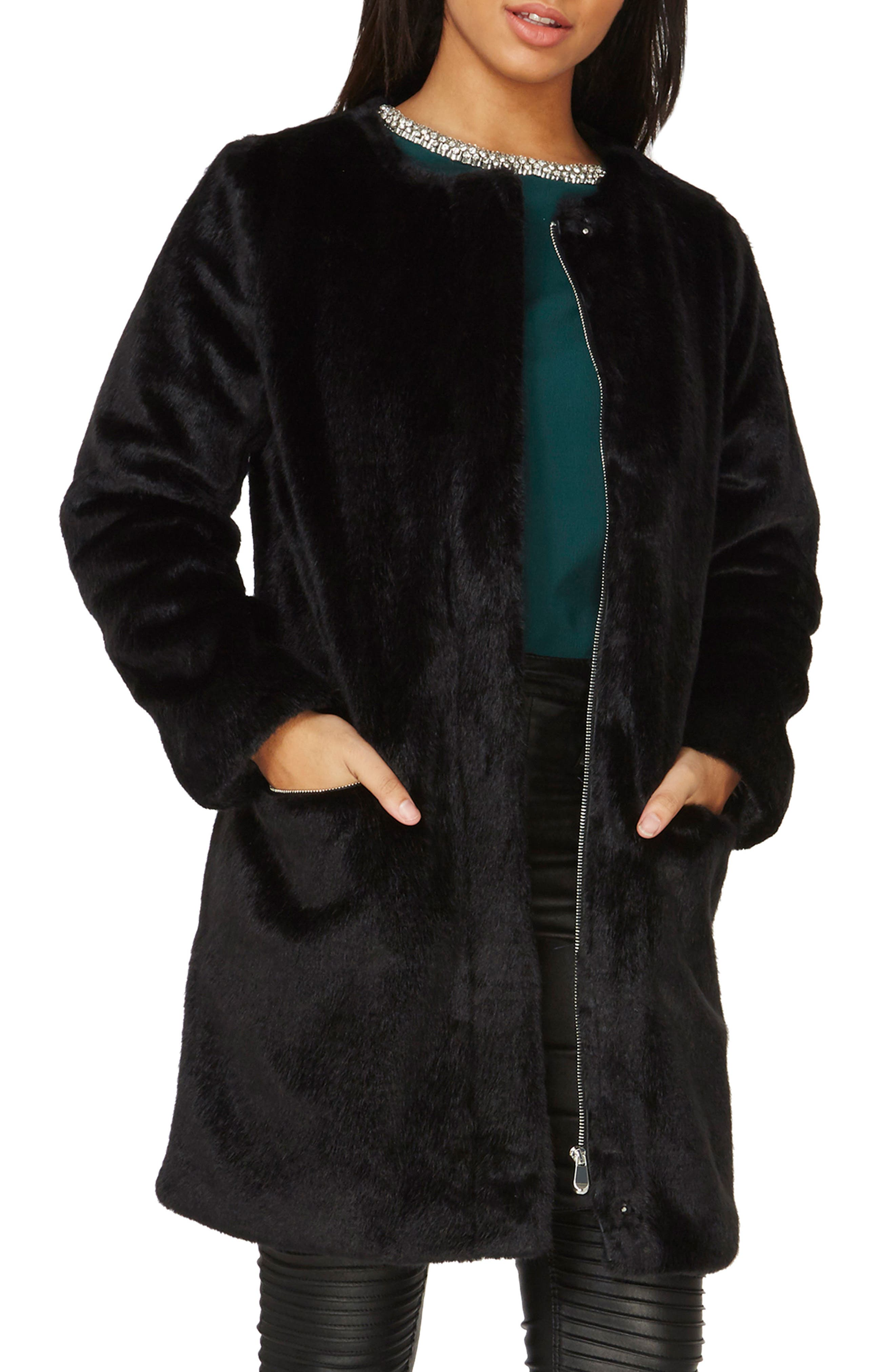 Faux Fur Coat,                             Main thumbnail 1, color,                             Black