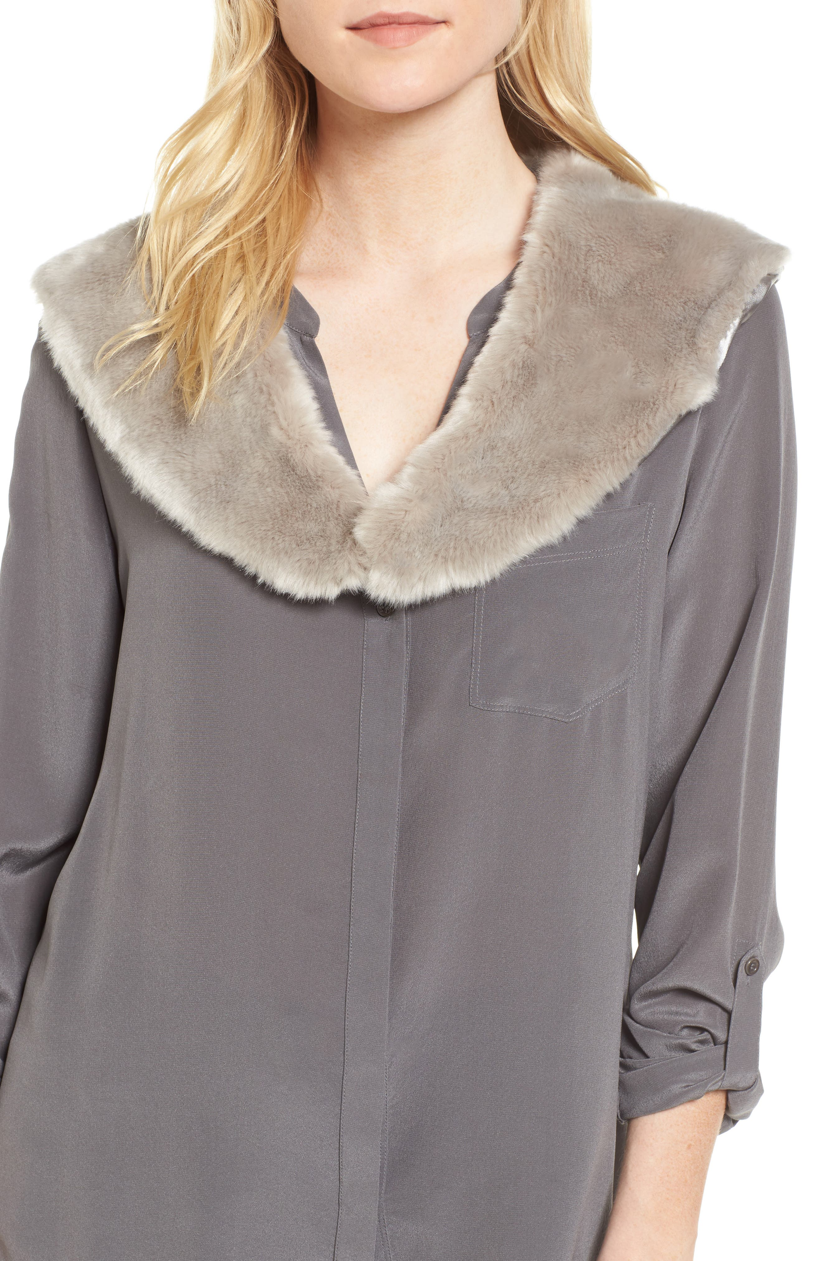 Faux Fur Collar,                             Main thumbnail 1, color,                             Silver