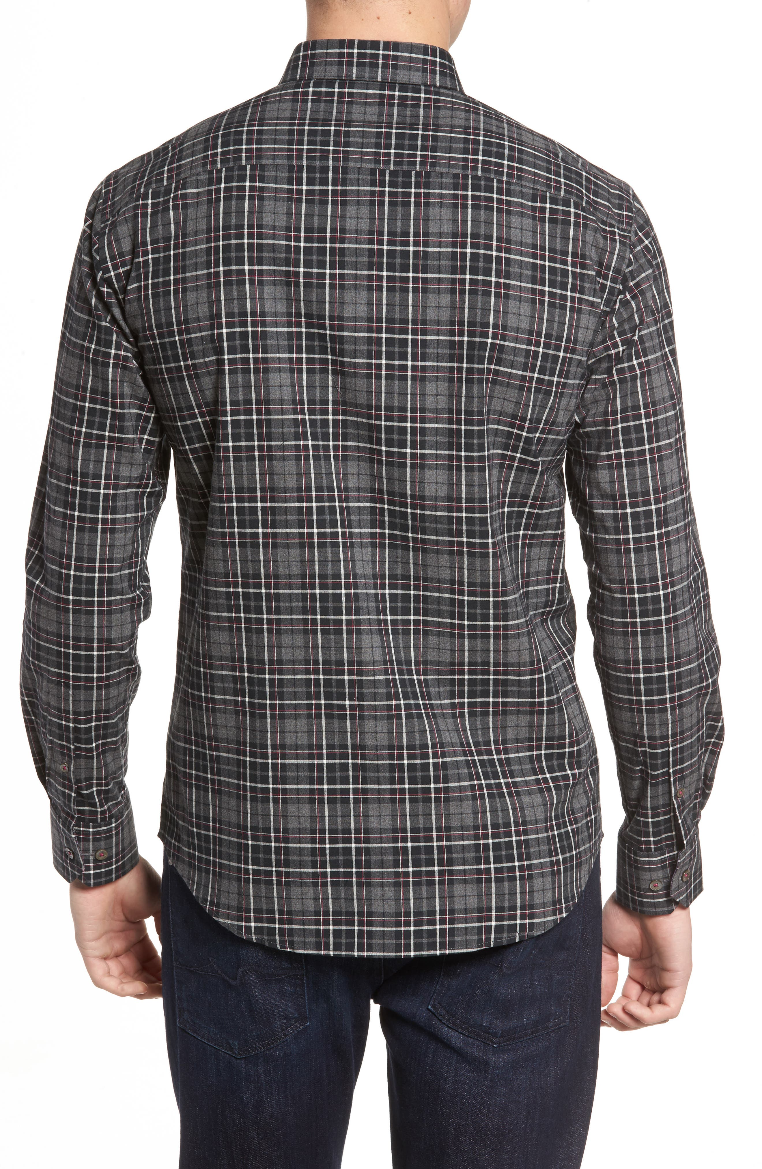 Alternate Image 2  - Bugatchi Shaped Fit Plaid Sport Shirt