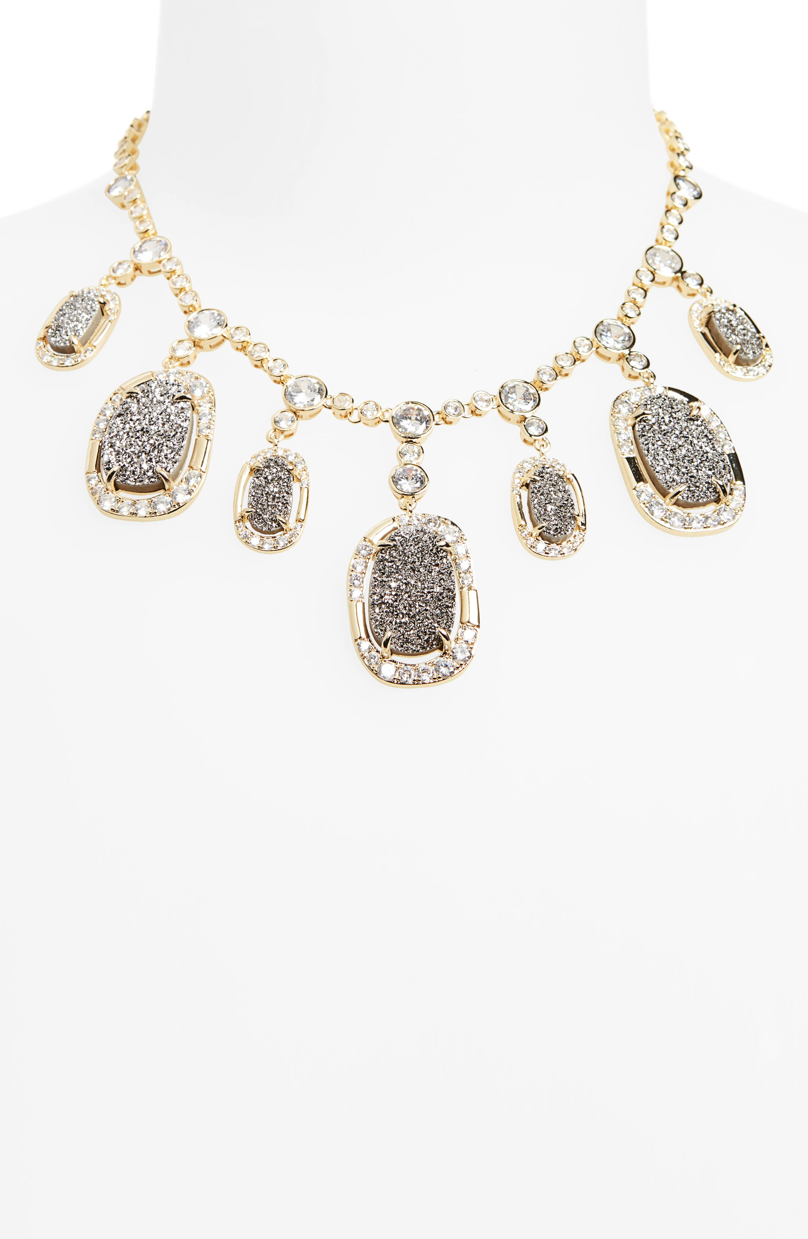 Woodward Statement Necklace,                             Alternate thumbnail 2, color,                             Grey Druzy/ Gold