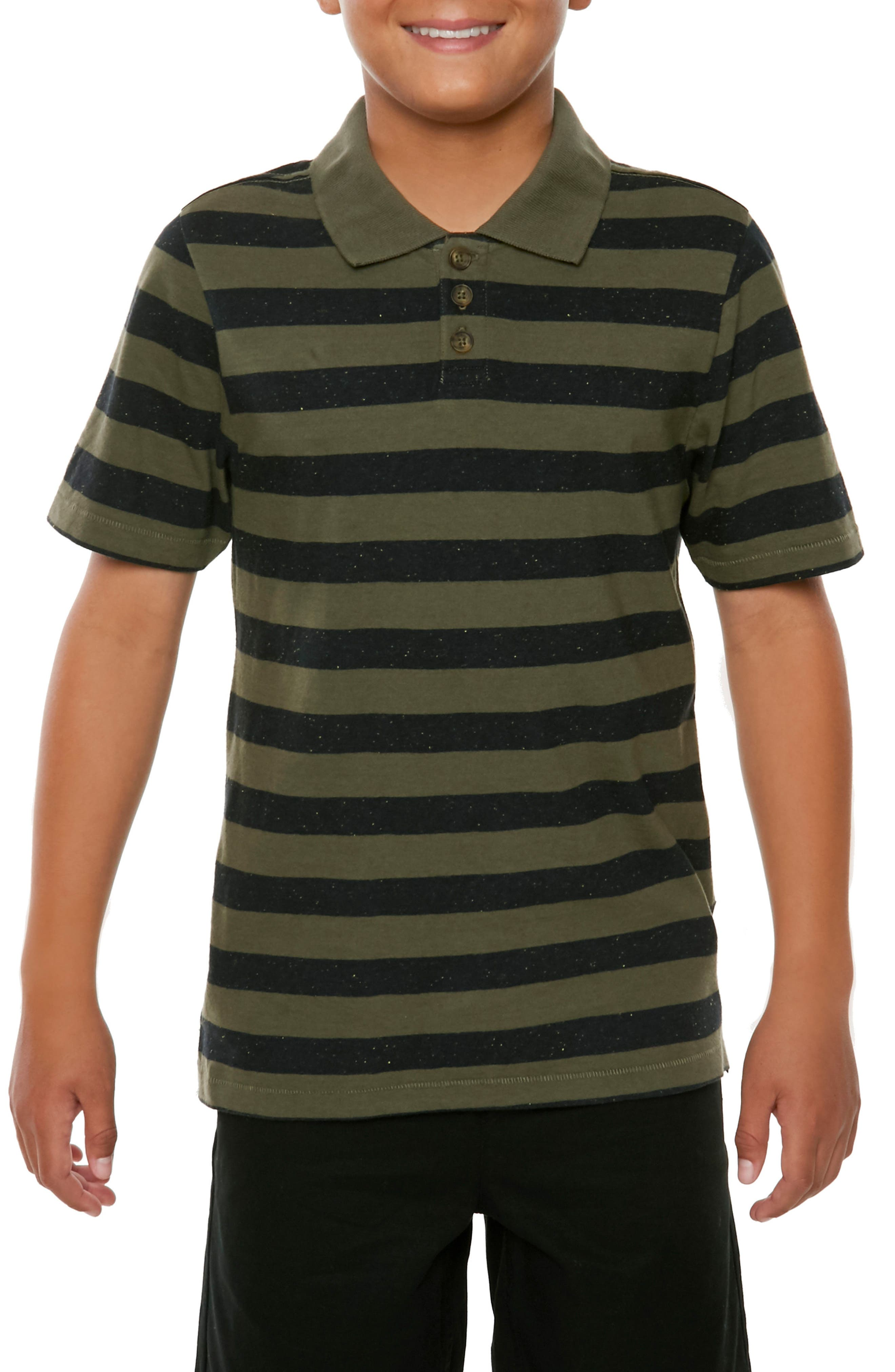 Scoundrel Striped Polo,                             Alternate thumbnail 3, color,                             Army Green