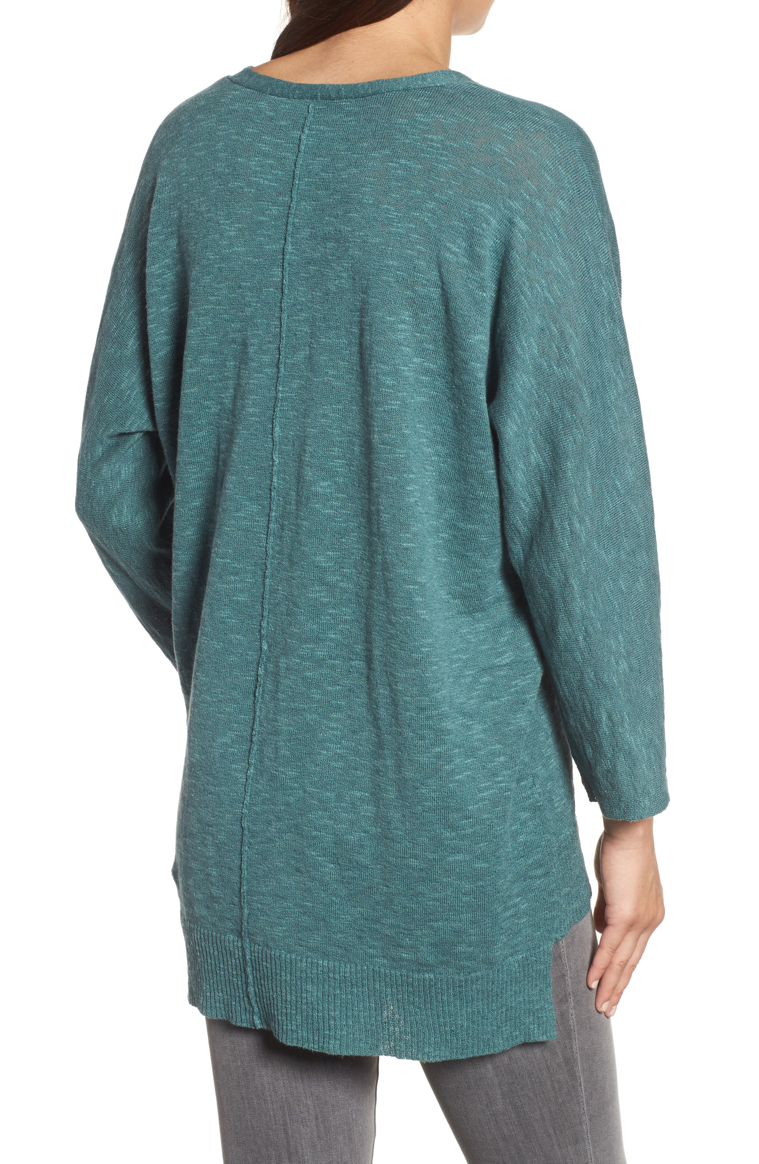 Organic Linen & Cotton Sweater,                             Alternate thumbnail 2, color,                             Teal